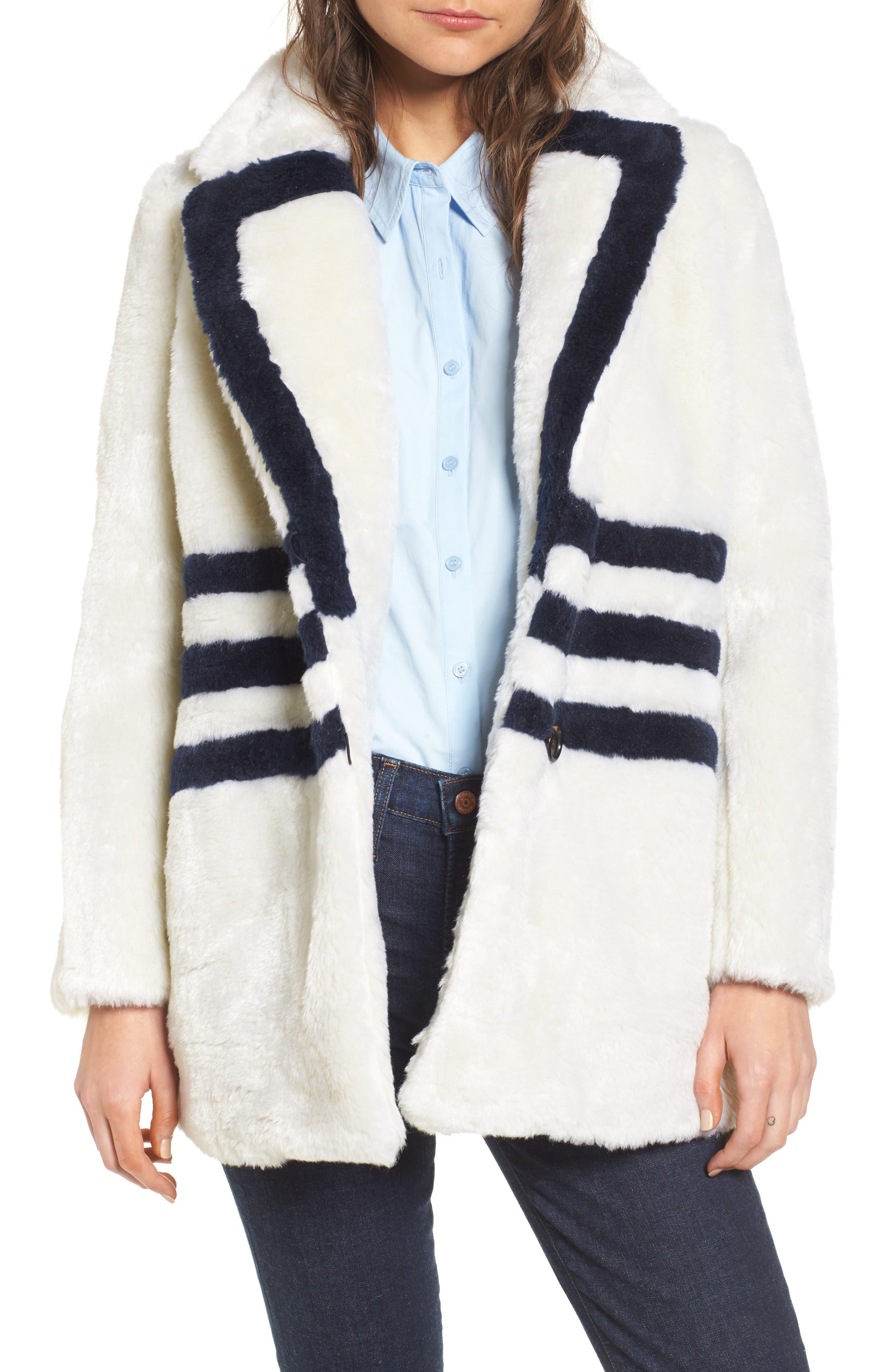 J.Crew Yuna Teddy Faux Fur Jacket,                         Main,                         color, Ivory/ Navy