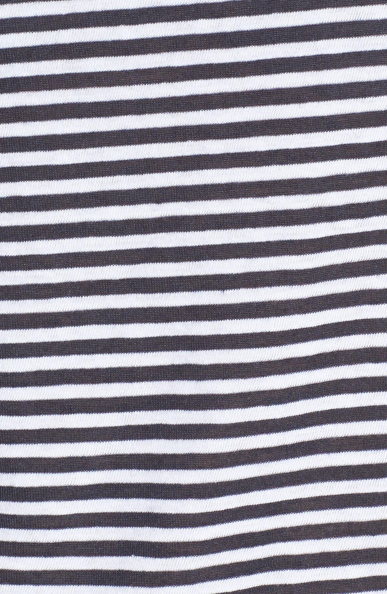 Lips Appliqué Stripe Tee,                             Alternate thumbnail 5, color,                             Navy