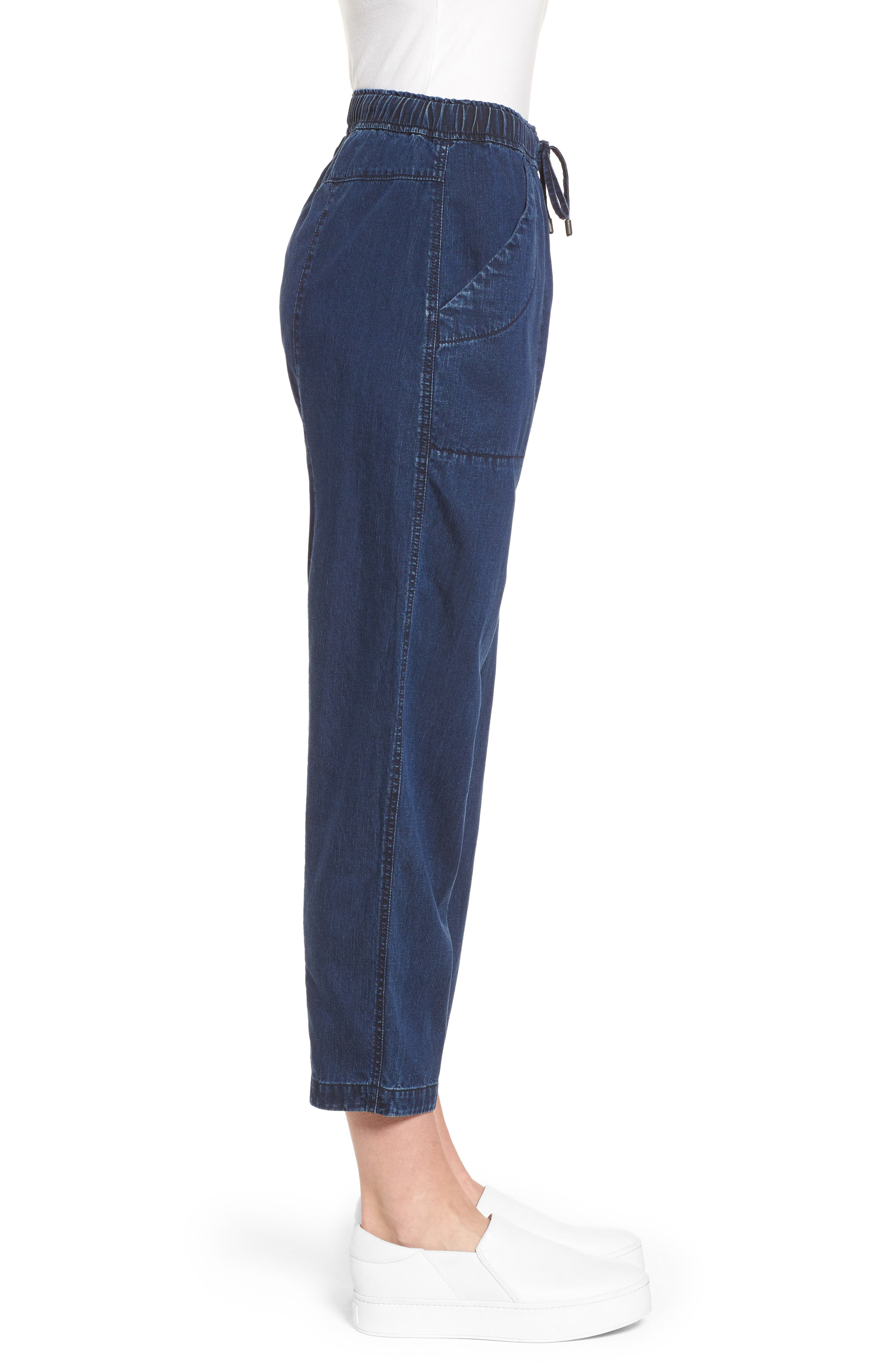 Slouchy Ankle Denim Pants,                             Alternate thumbnail 3, color,                             Midnight