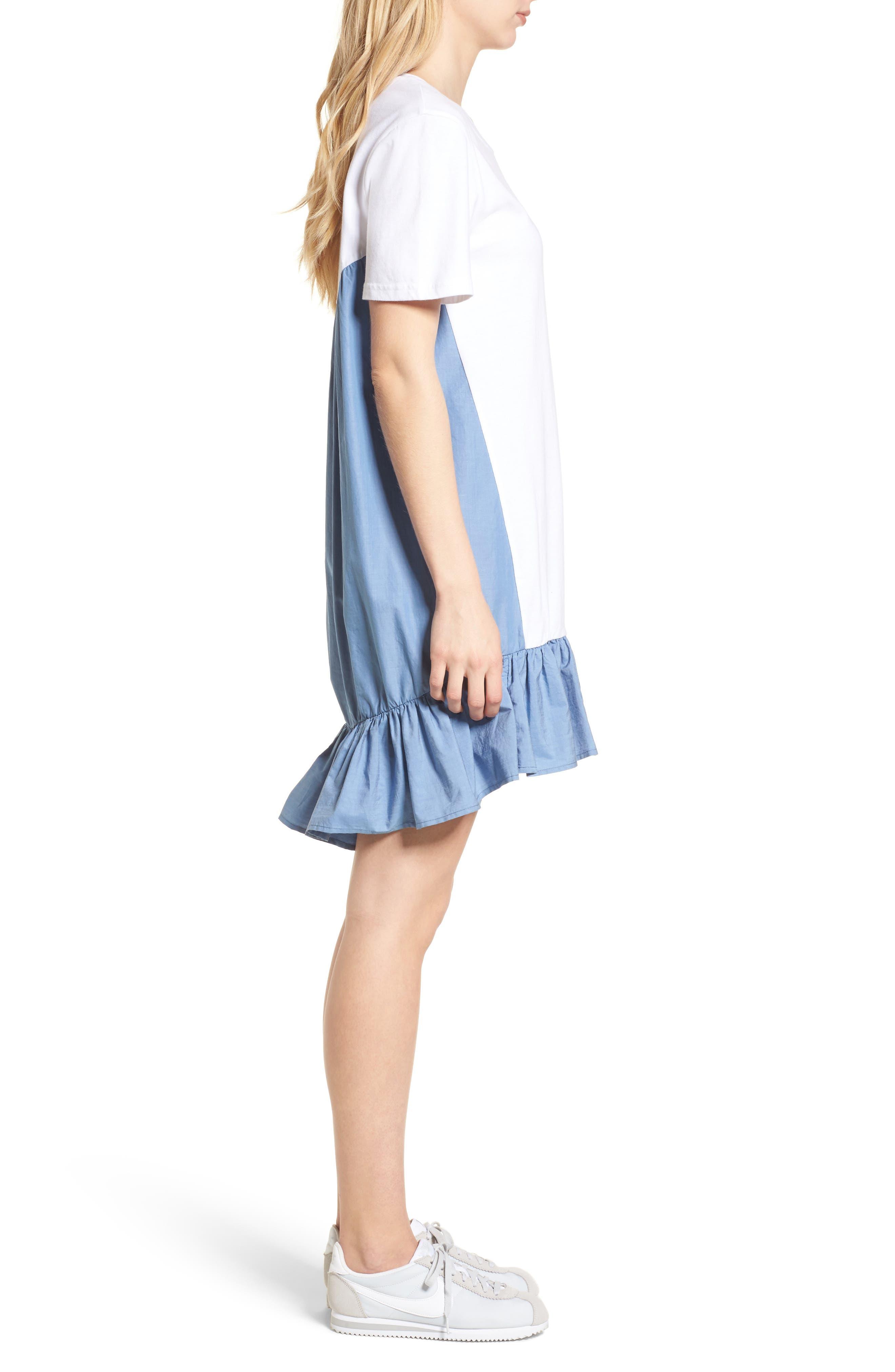 Mixed Media T-Shirt Dress,                             Alternate thumbnail 3, color,                             White