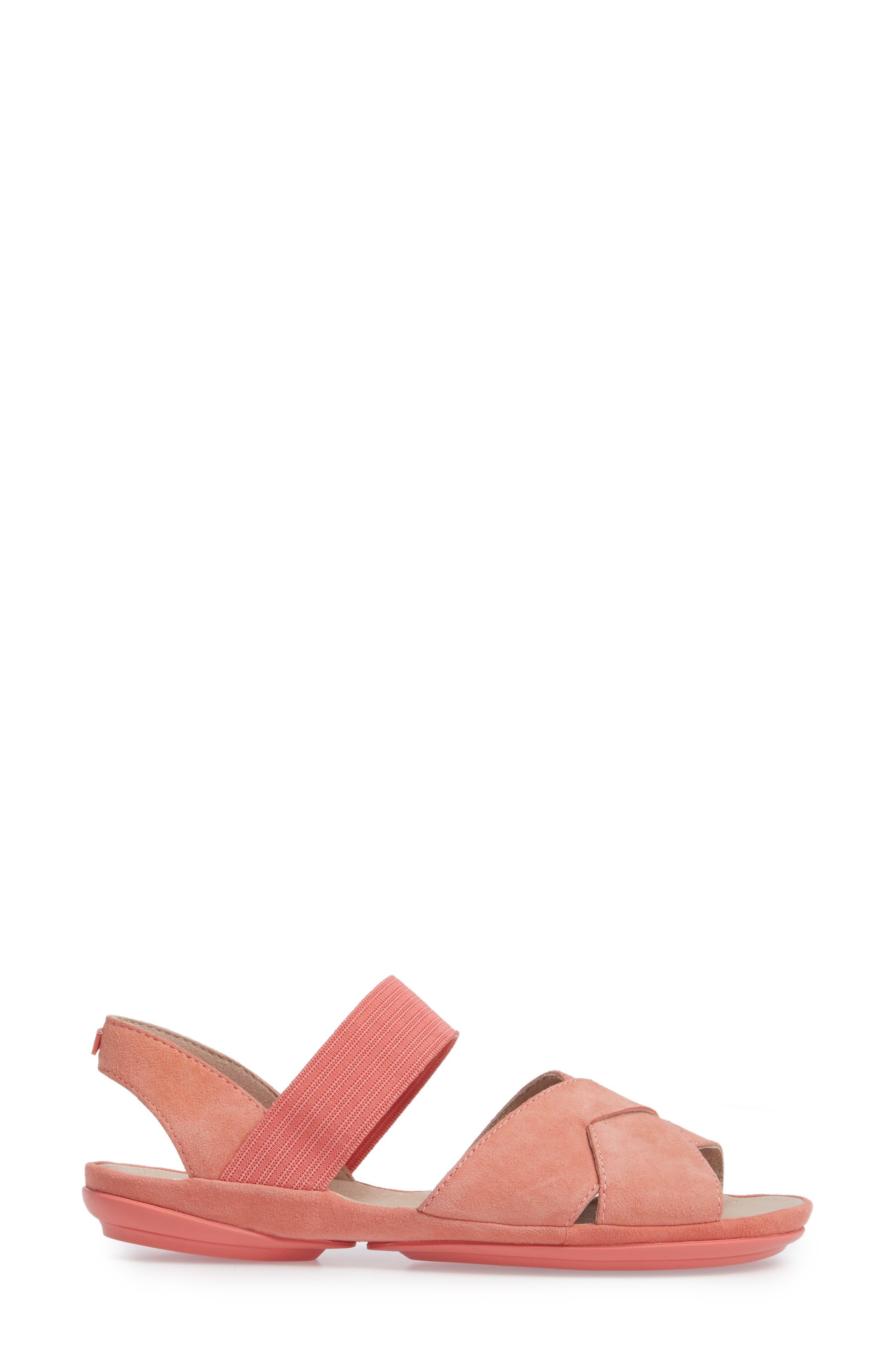 Right Nina Flat Cross Strap Sandal,                             Alternate thumbnail 3, color,                             Medium Pink Leather