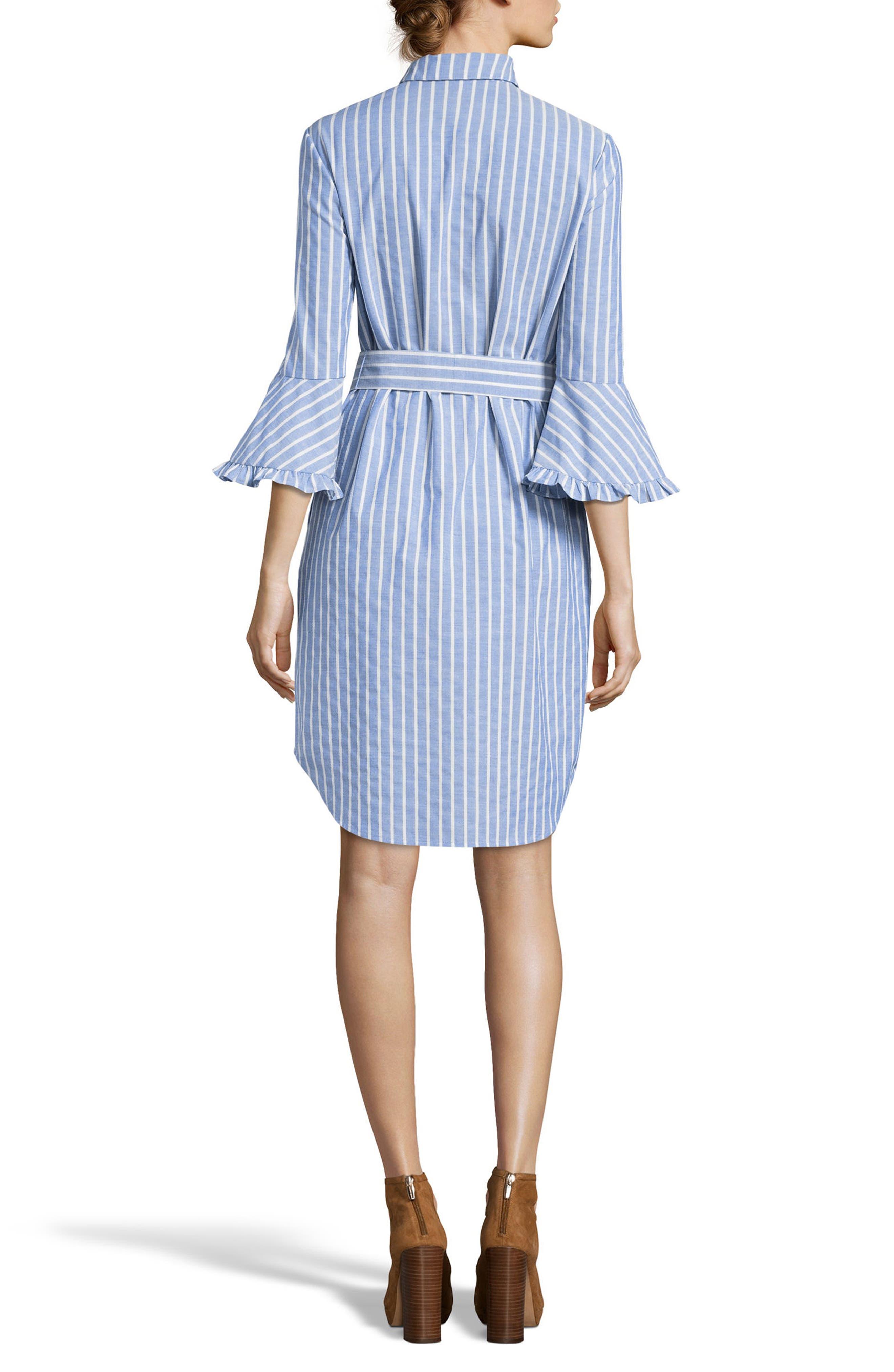 Ruffle Cuff Shirtdress,                             Alternate thumbnail 2, color,                             Blue/ White