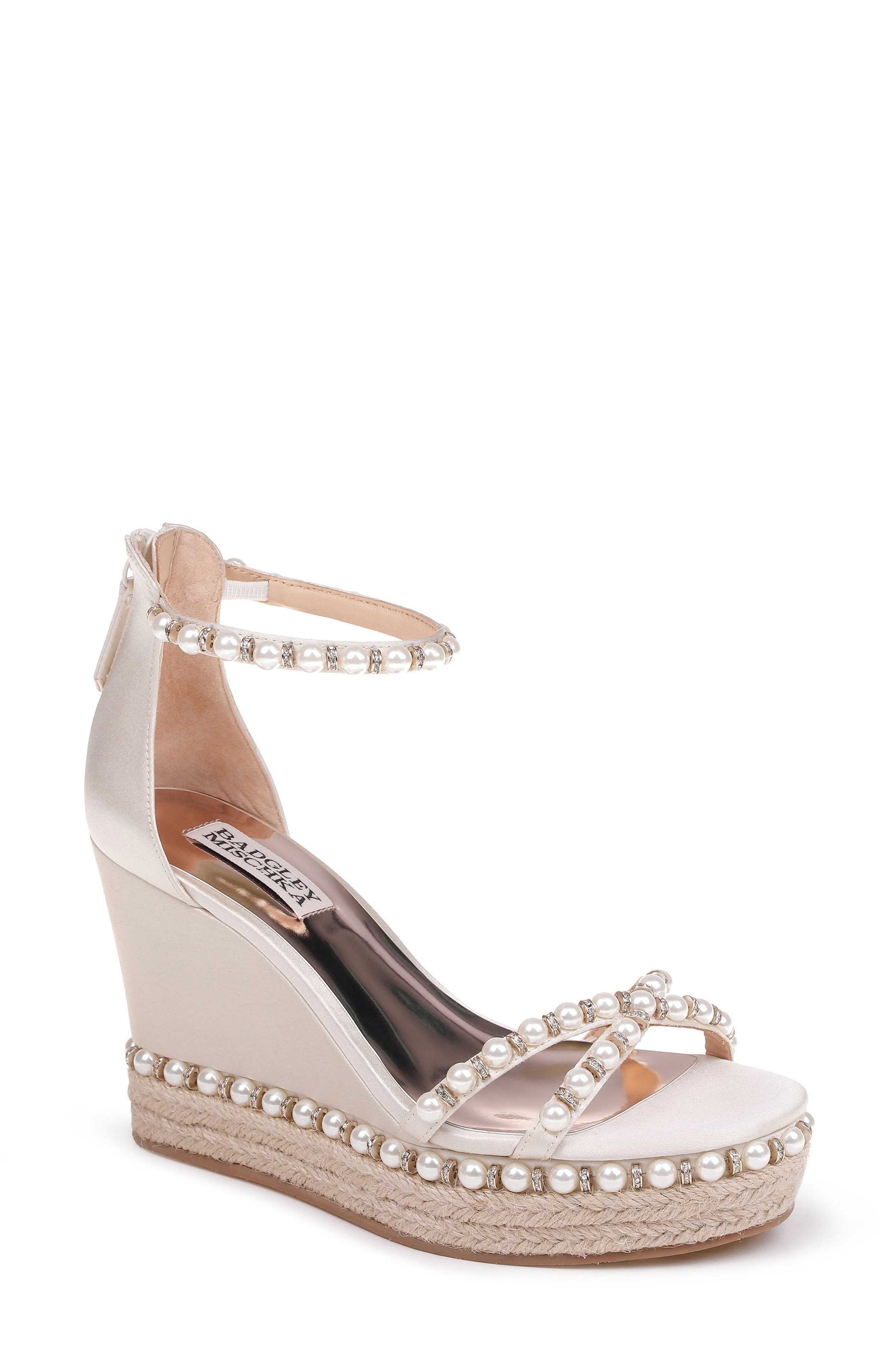 Sloan Wedge Sandal,                             Main thumbnail 1, color,                             Ivory Satin