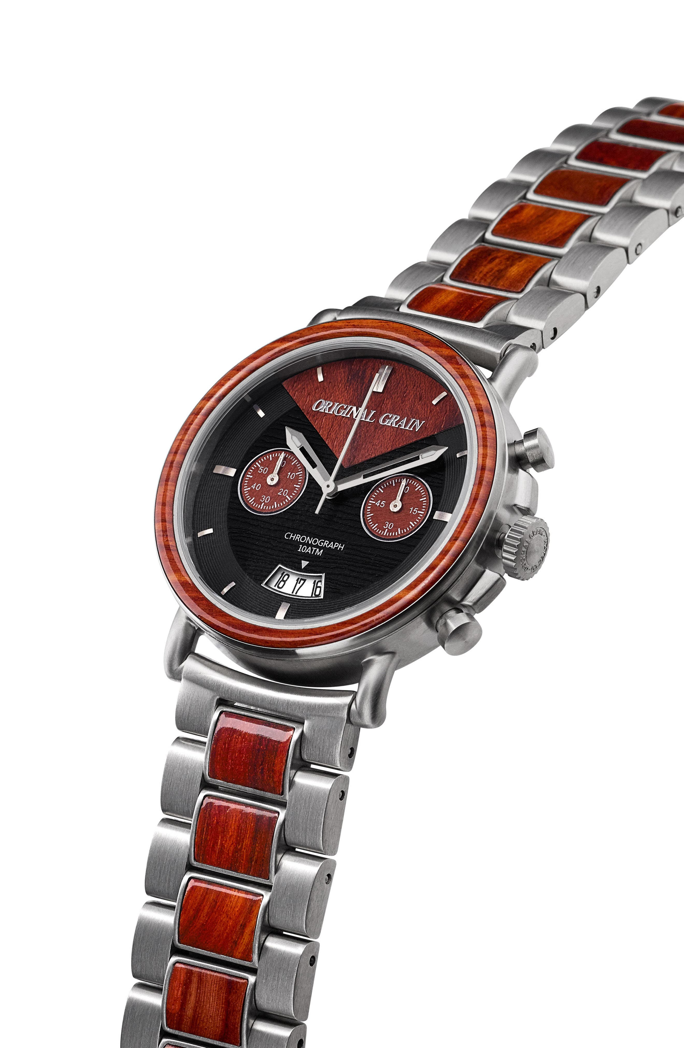 Alterra Chronograph Bracelet Watch,                             Alternate thumbnail 3, color,                             Rosewood/ Brushed Silver