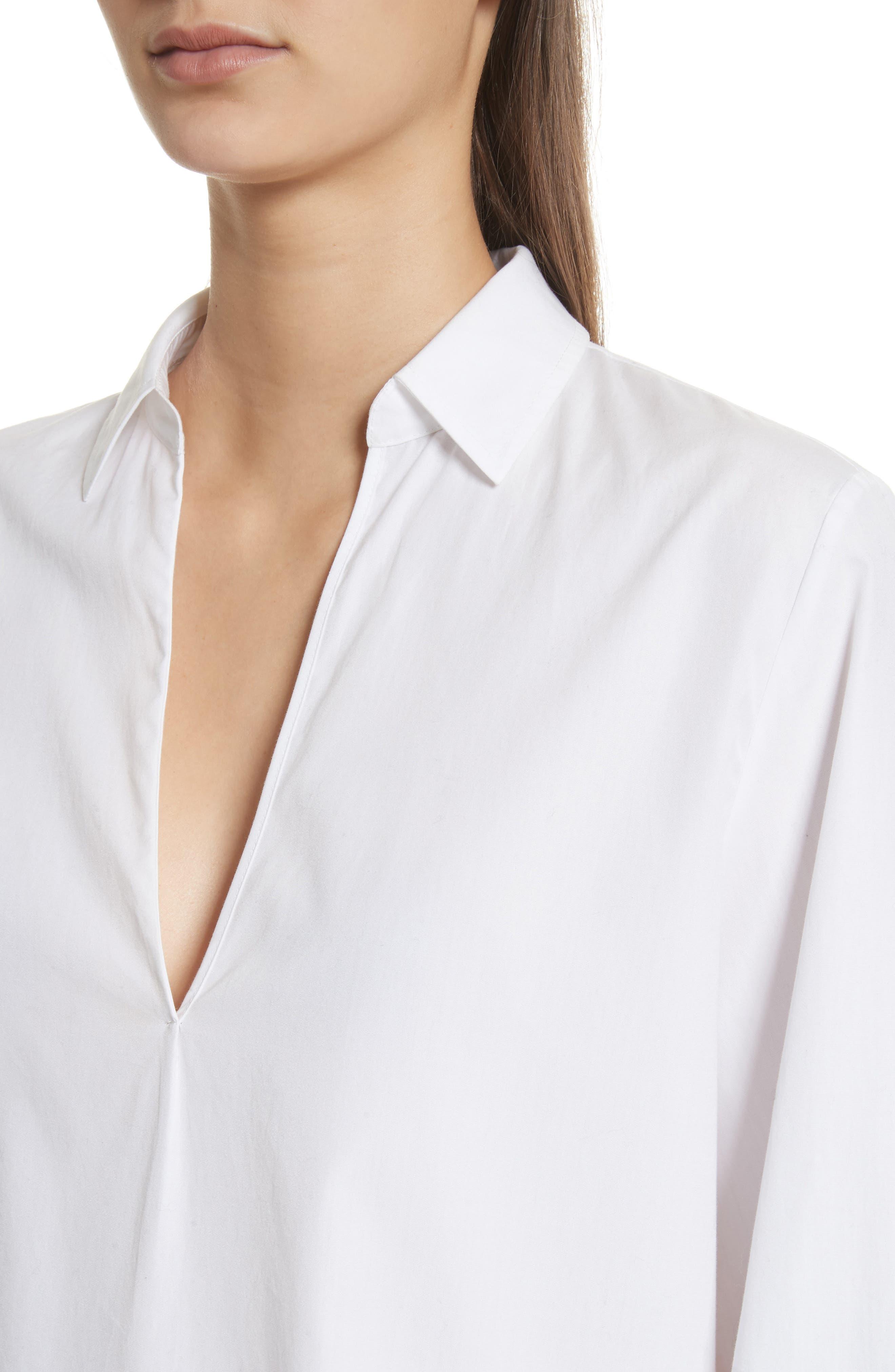 Swing Front Pullover Shirt,                             Alternate thumbnail 4, color,                             Optic White