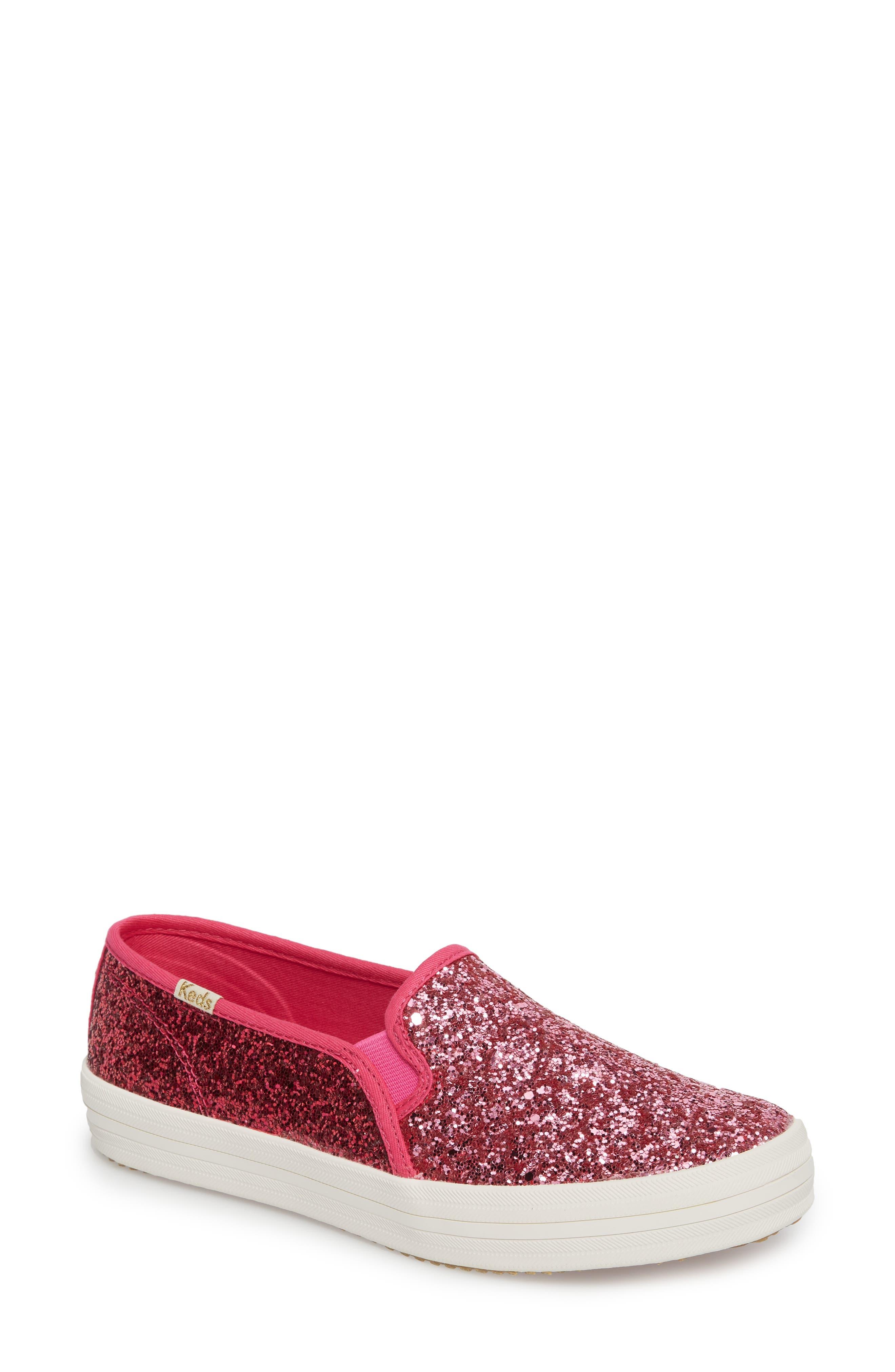 double decker glitter slip-on sneaker,                             Main thumbnail 1, color,                             Pink Glitter