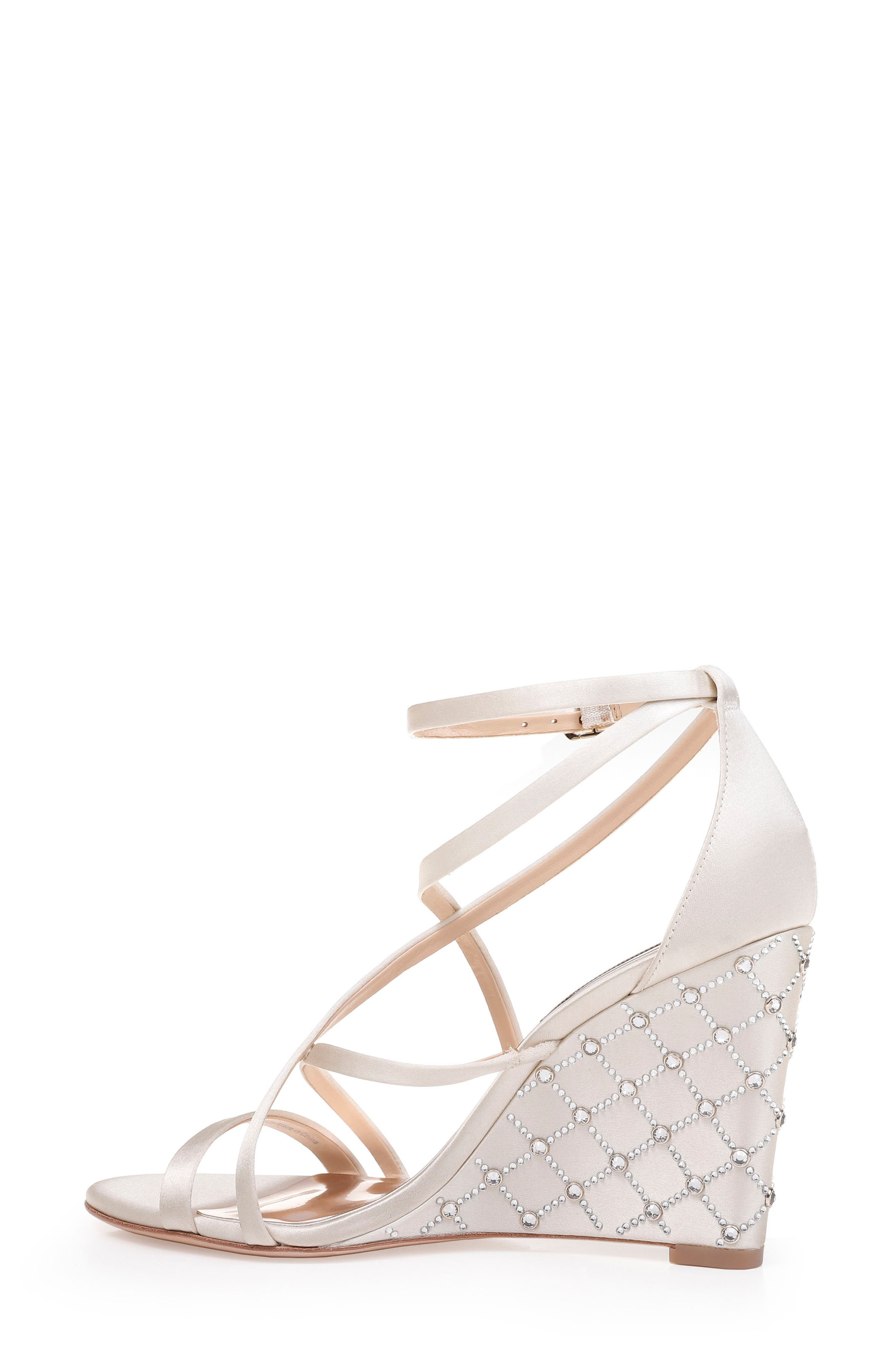 Shelly Strappy Wedge Sandal,                             Alternate thumbnail 2, color,                             Ivory Satin
