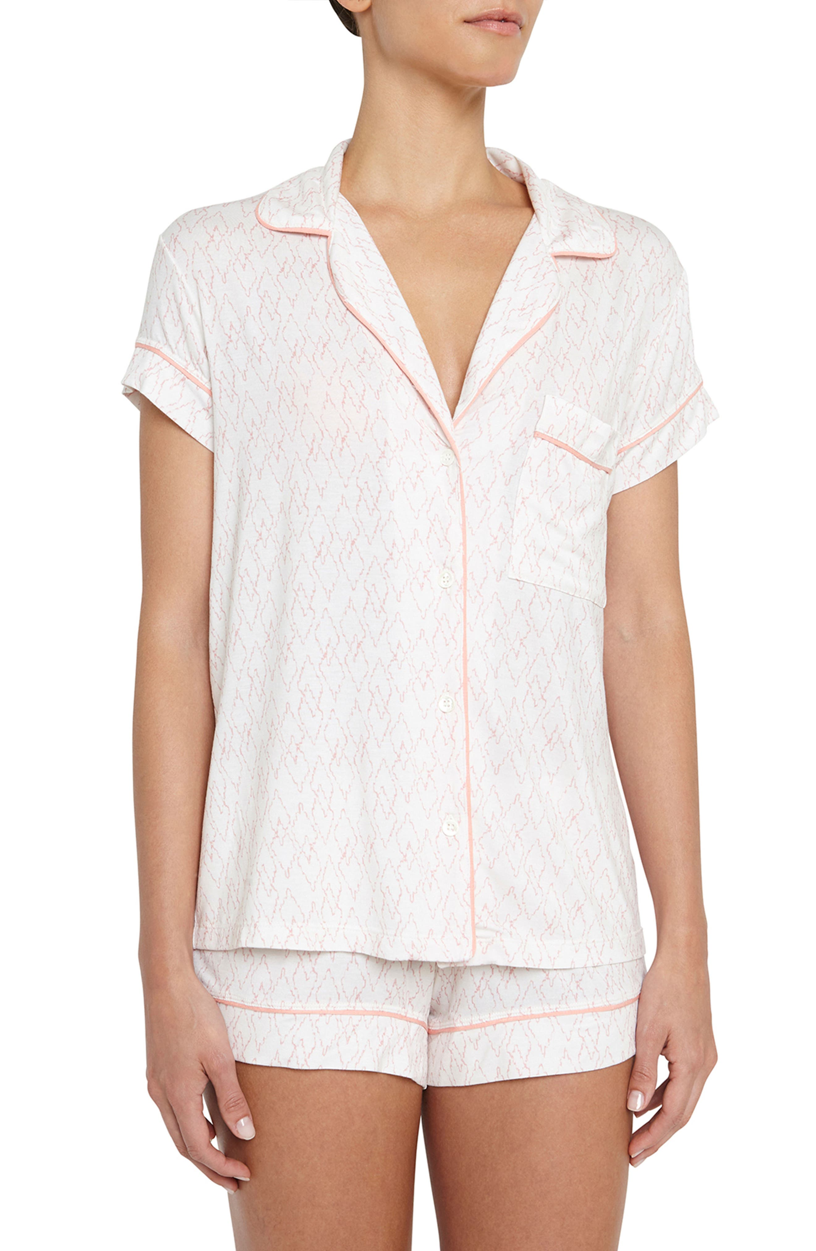 Sweet Heart Short Pajamas,                             Main thumbnail 1, color,                             Ivory/ Candlelight Peach