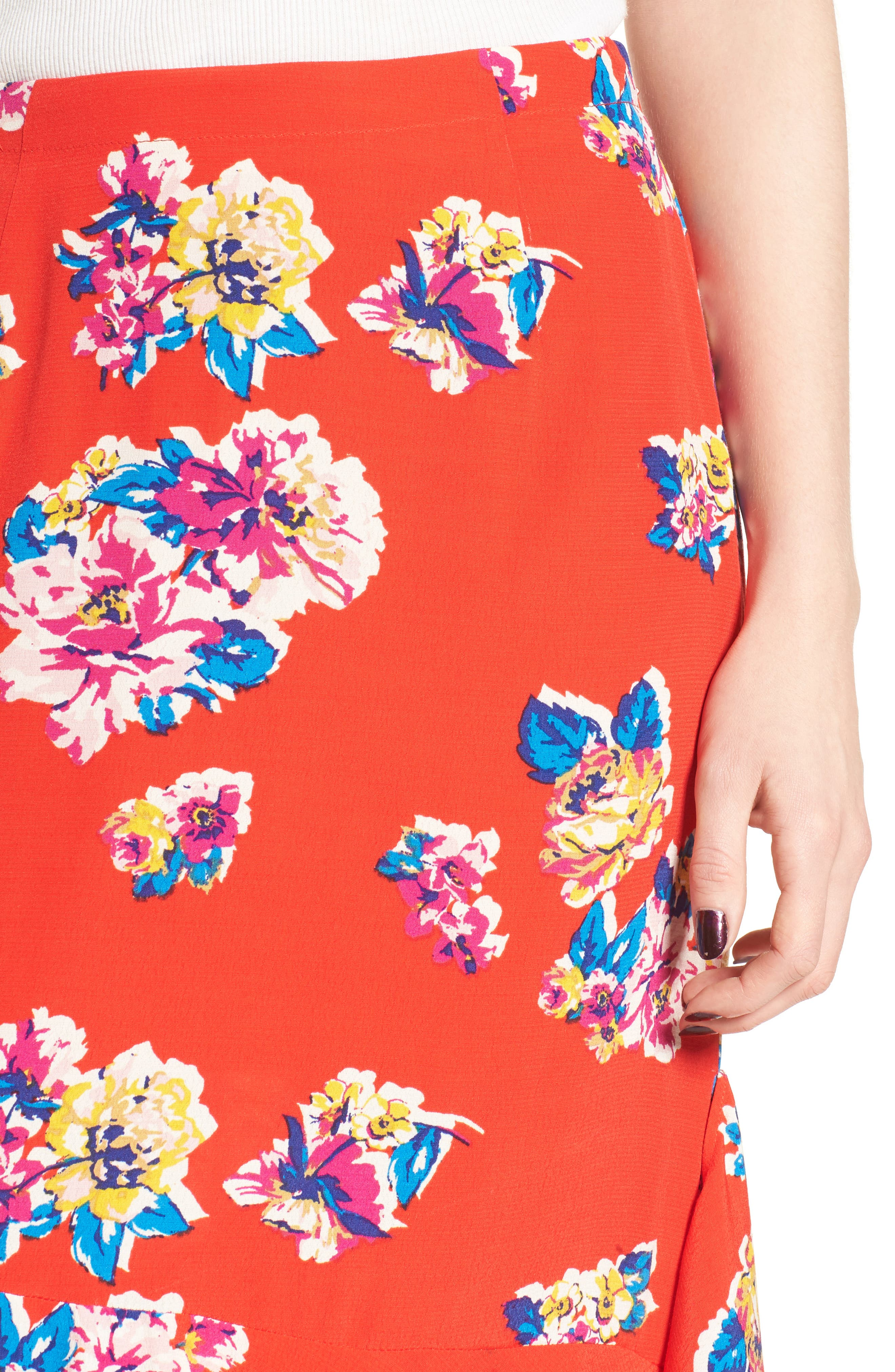 Floral Ruffle Hem Skirt,                             Alternate thumbnail 4, color,                             Red Field Bold Bloom