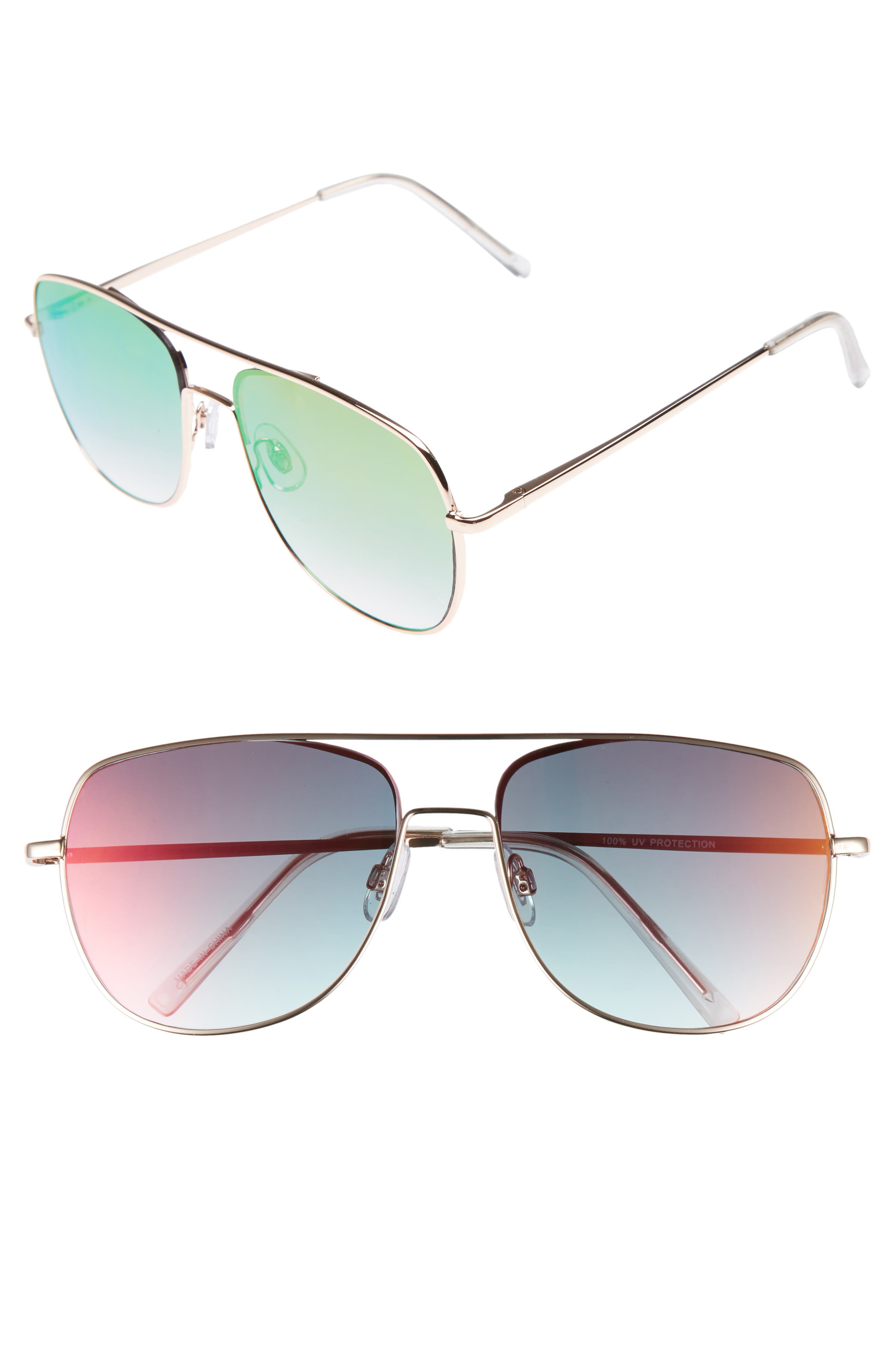 58mm Aviator Sunglasses,                         Main,                         color, Gold/ Pink/ Gold