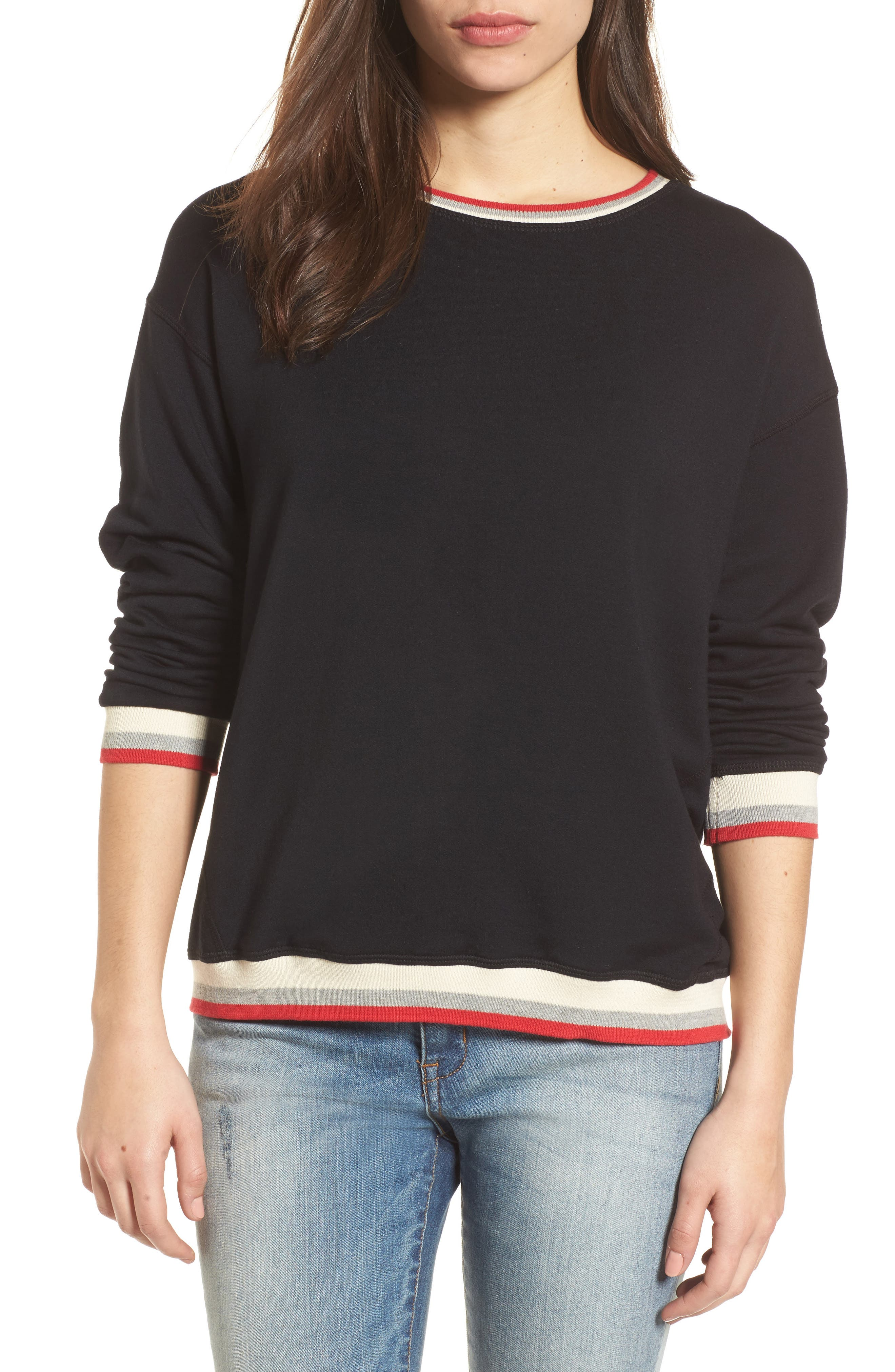 Stripe Trim Pullover,                             Main thumbnail 1, color,                             Black