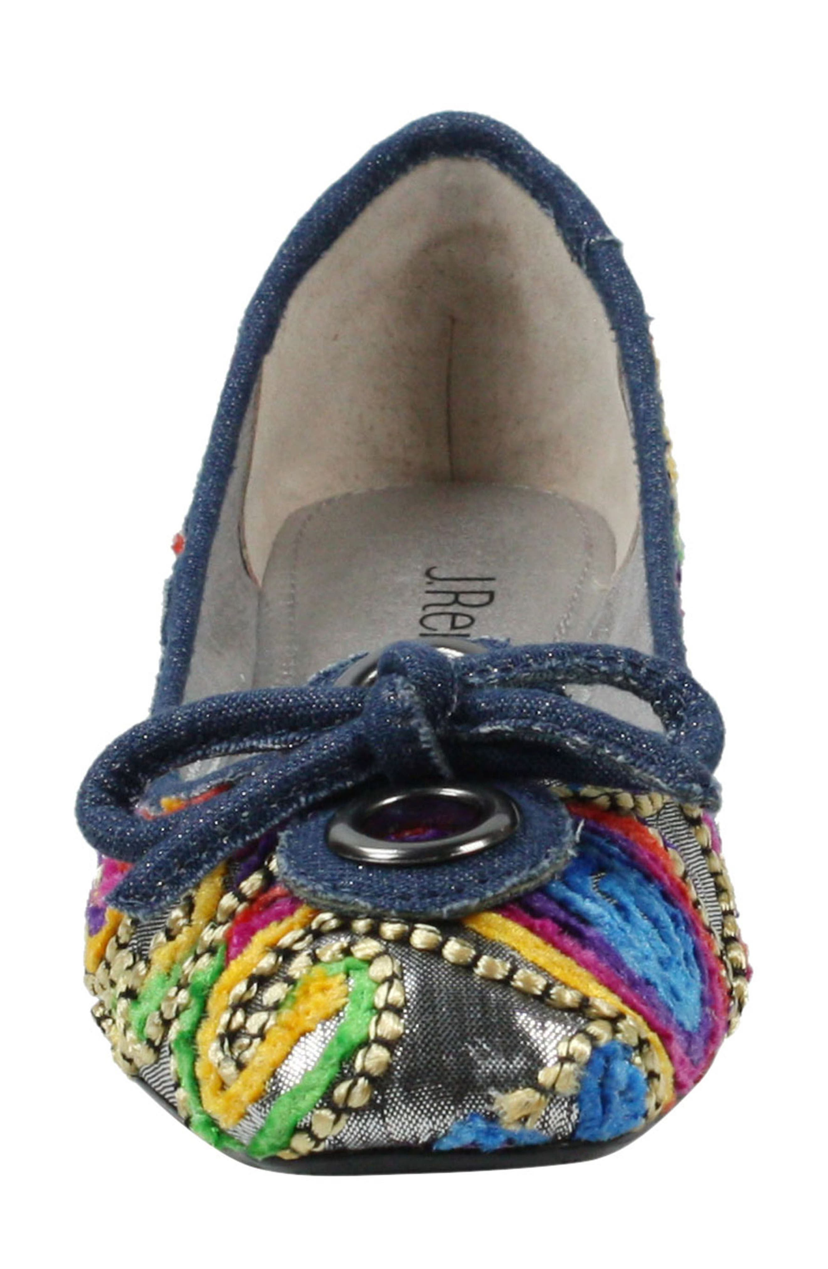 'Edie' Skimmer Flat,                             Alternate thumbnail 4, color,                             Silver/ Bright Fabric