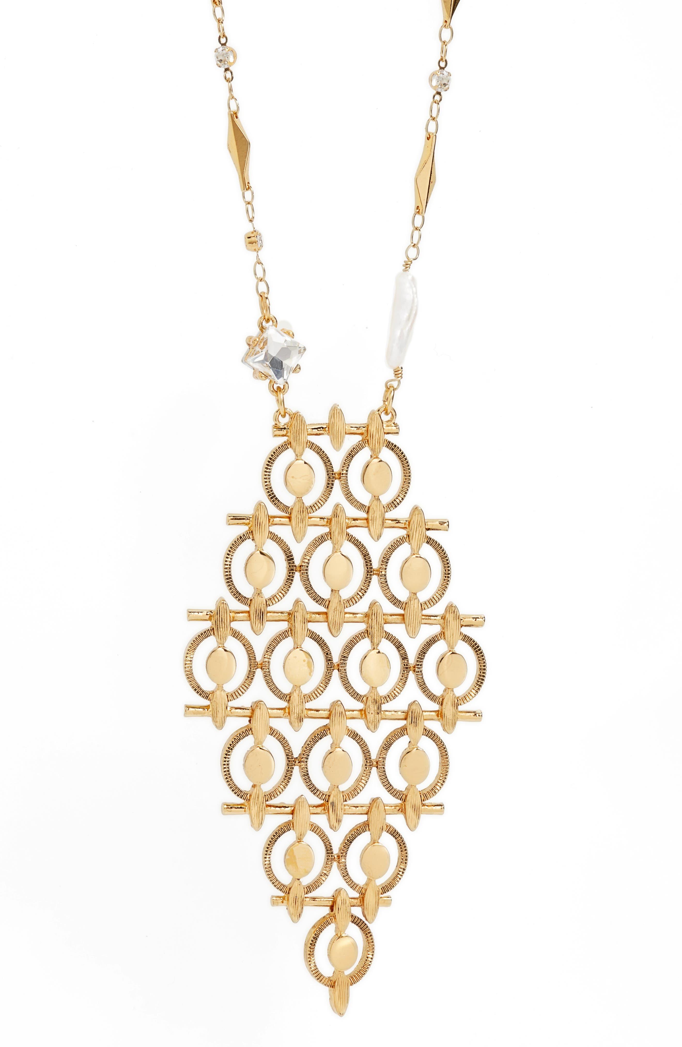 Diamond Shaped Long Pendant Necklace,                             Alternate thumbnail 2, color,                             Gold