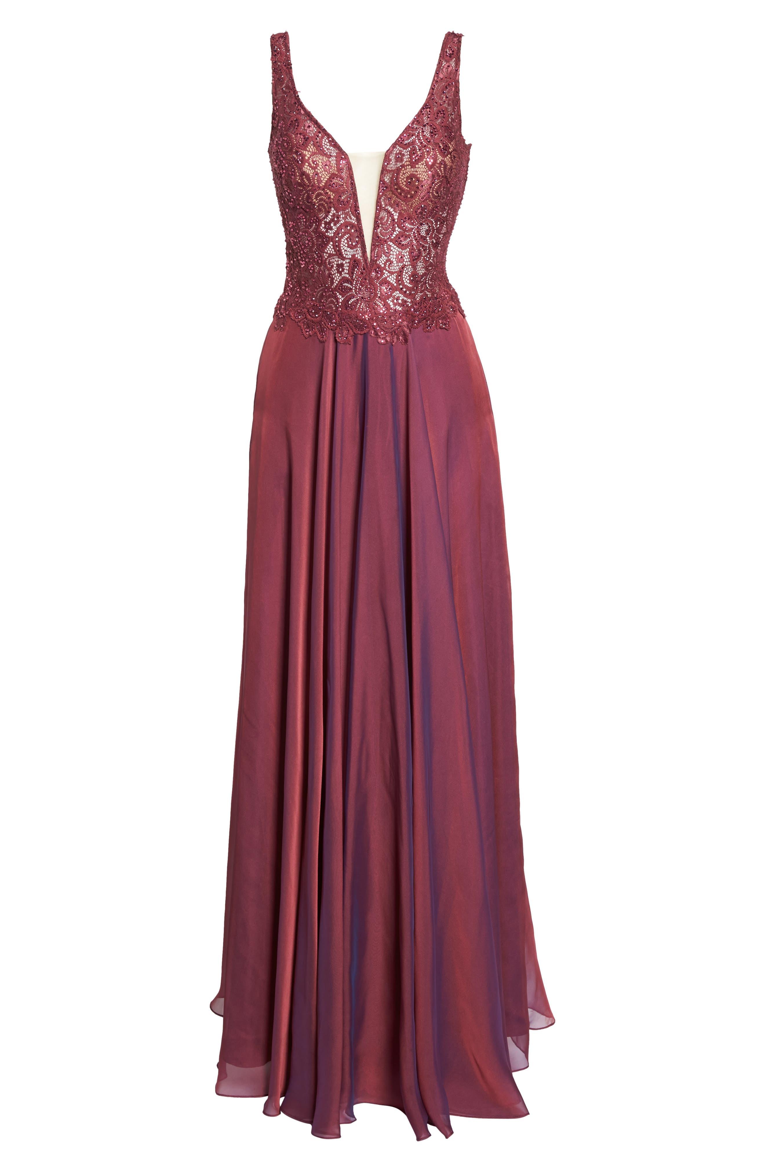 Alternate Image 6  - La Femme Lace & Chiffon A-Line Gown