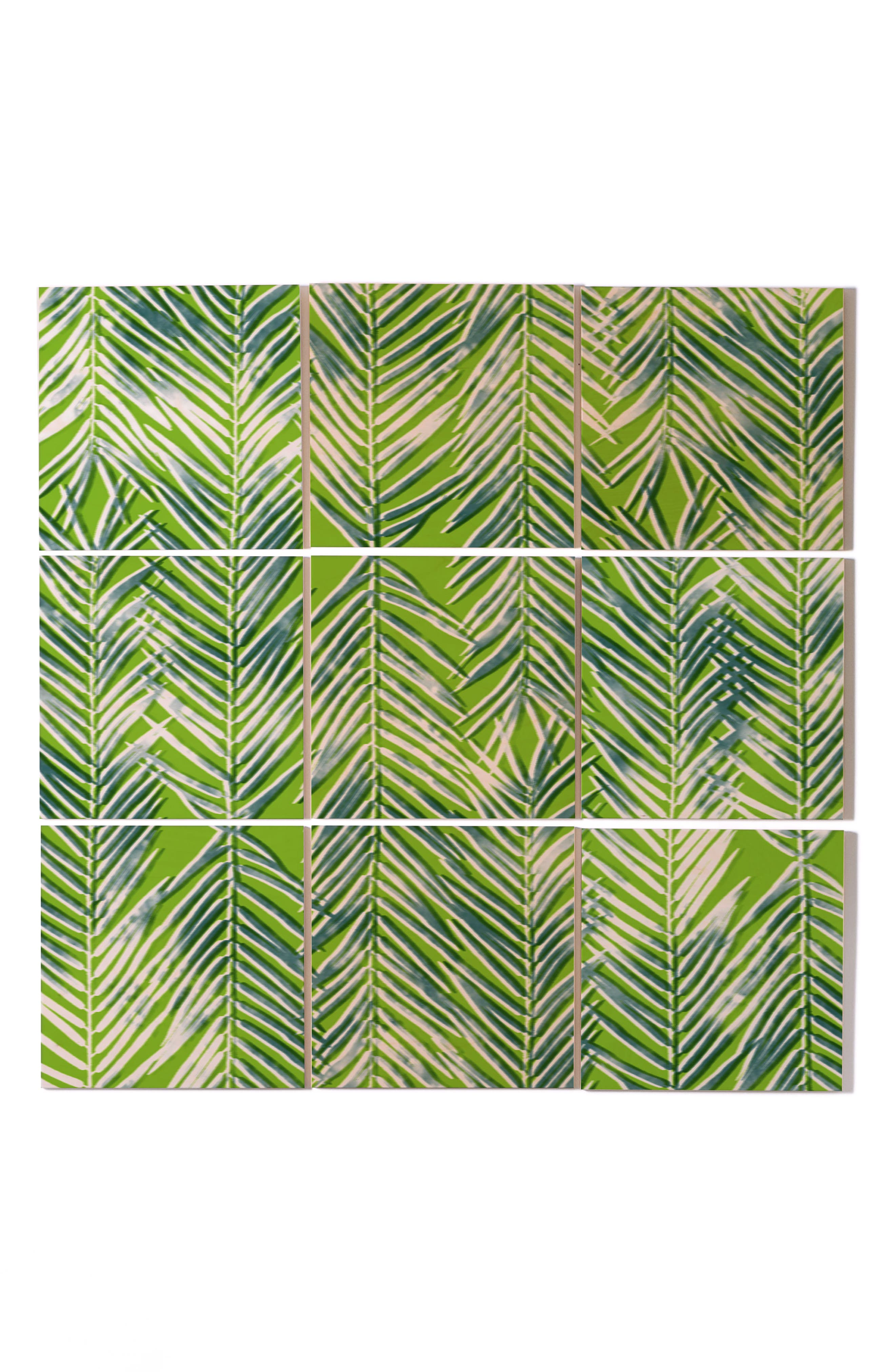 Poolside Lounge 9-Piece Wood Wall Mural,                         Main,                         color, Green