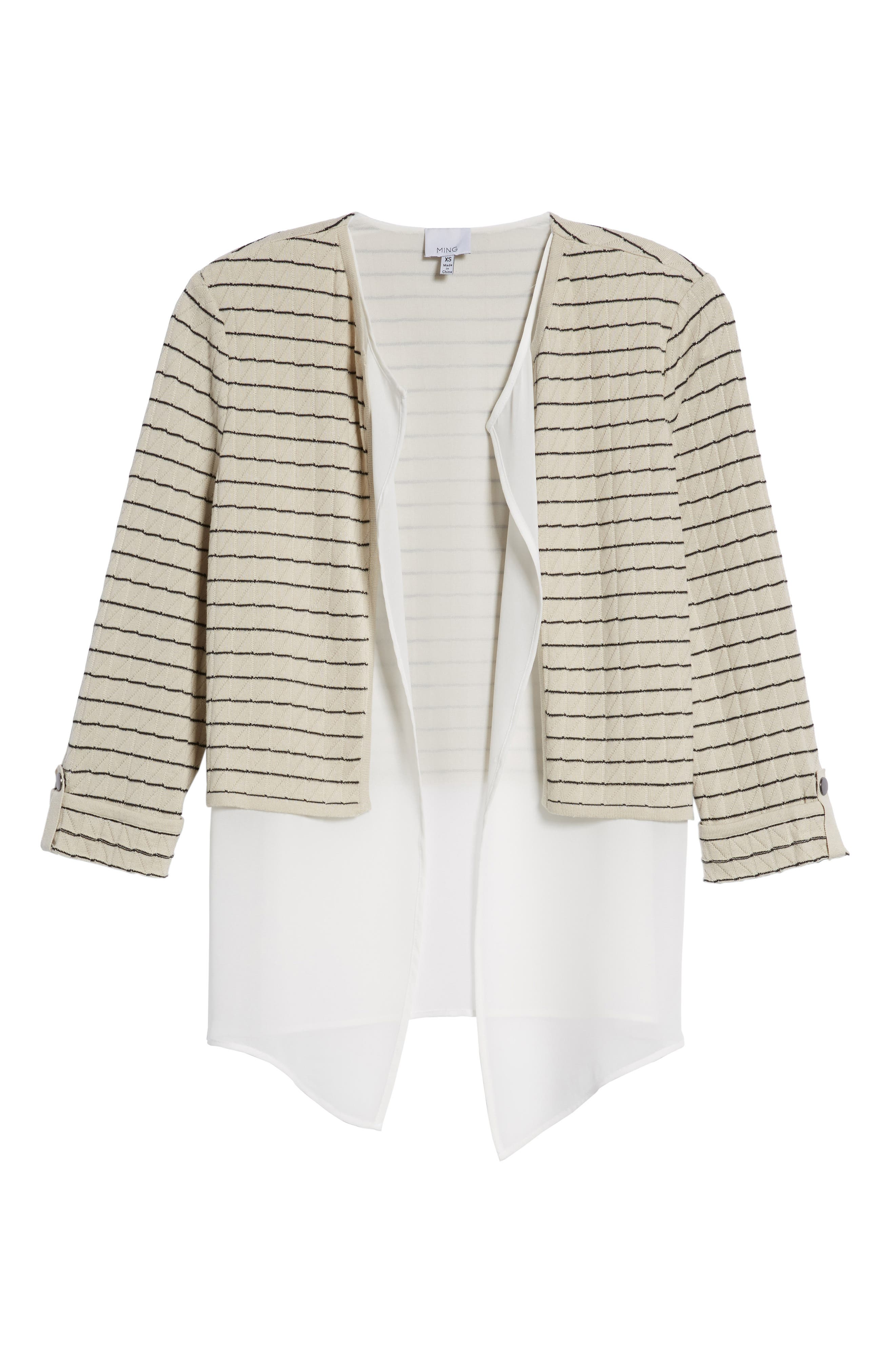 Layered Look Knit Jacket,                             Alternate thumbnail 6, color,                             Almond Beige/ Black/ White