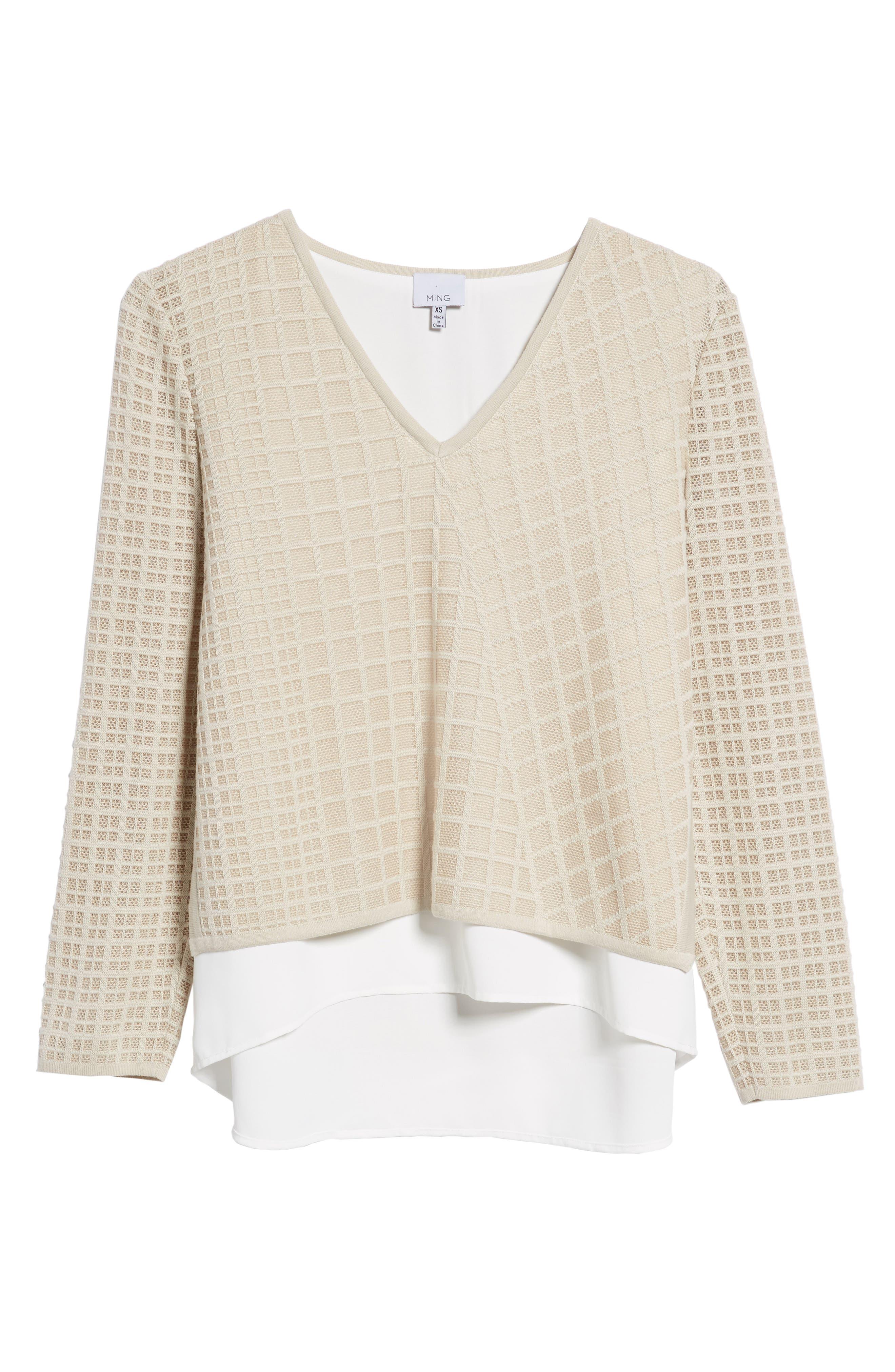 Alternate Image 6  - Ming Wang V-Neck Windowpane Sweater