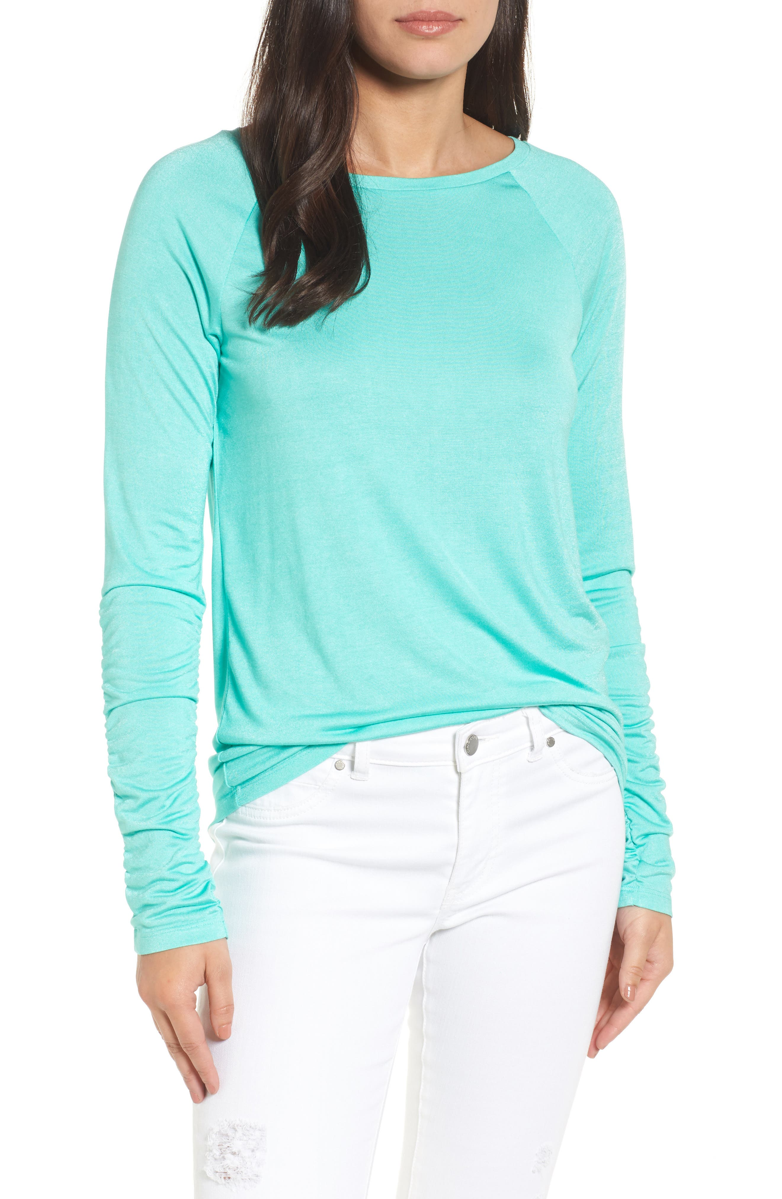 Ruched Sleeve Tee,                         Main,                         color, Green Largo