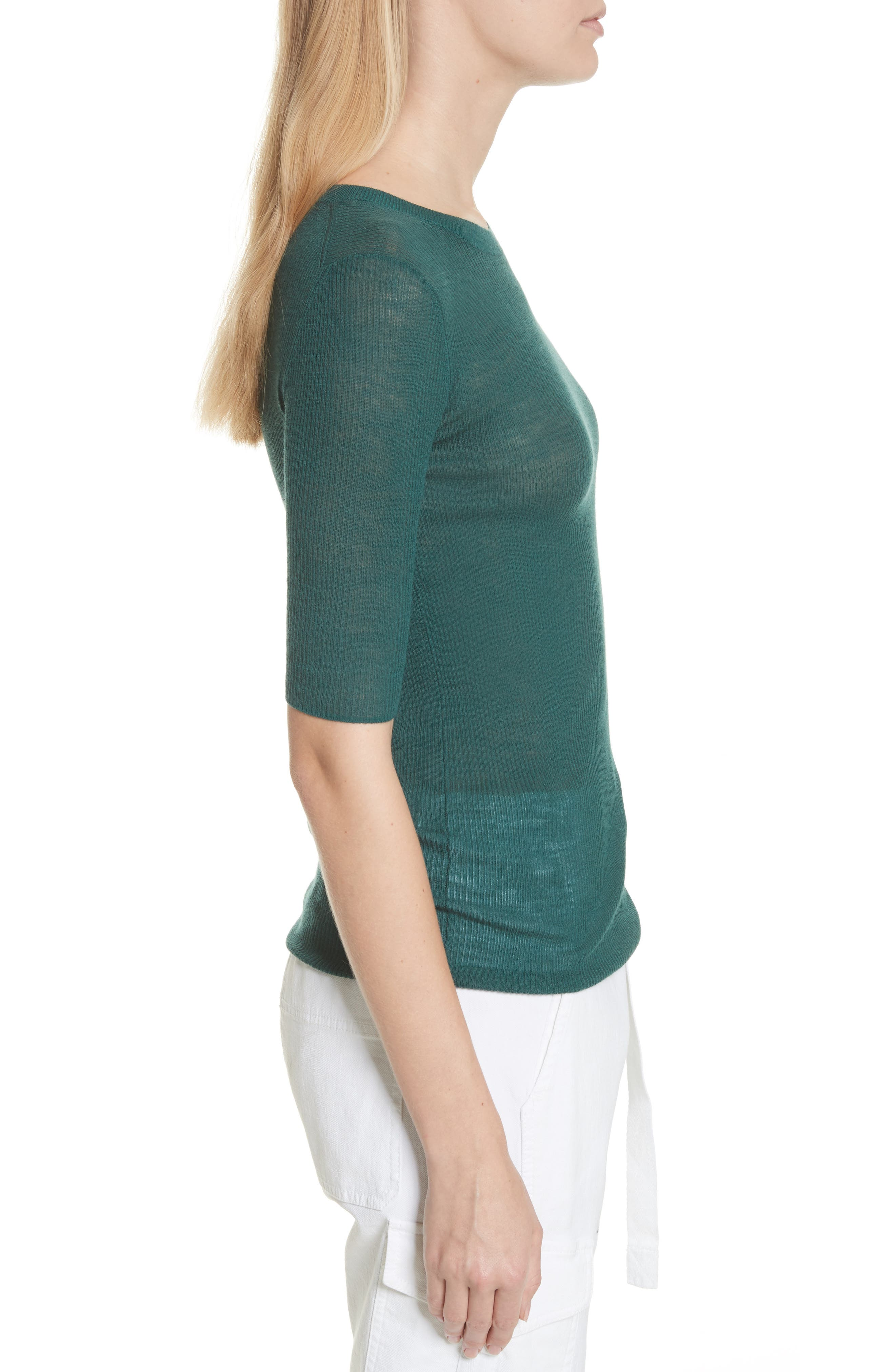 Ribbed Sweater,                             Alternate thumbnail 3, color,                             Agave