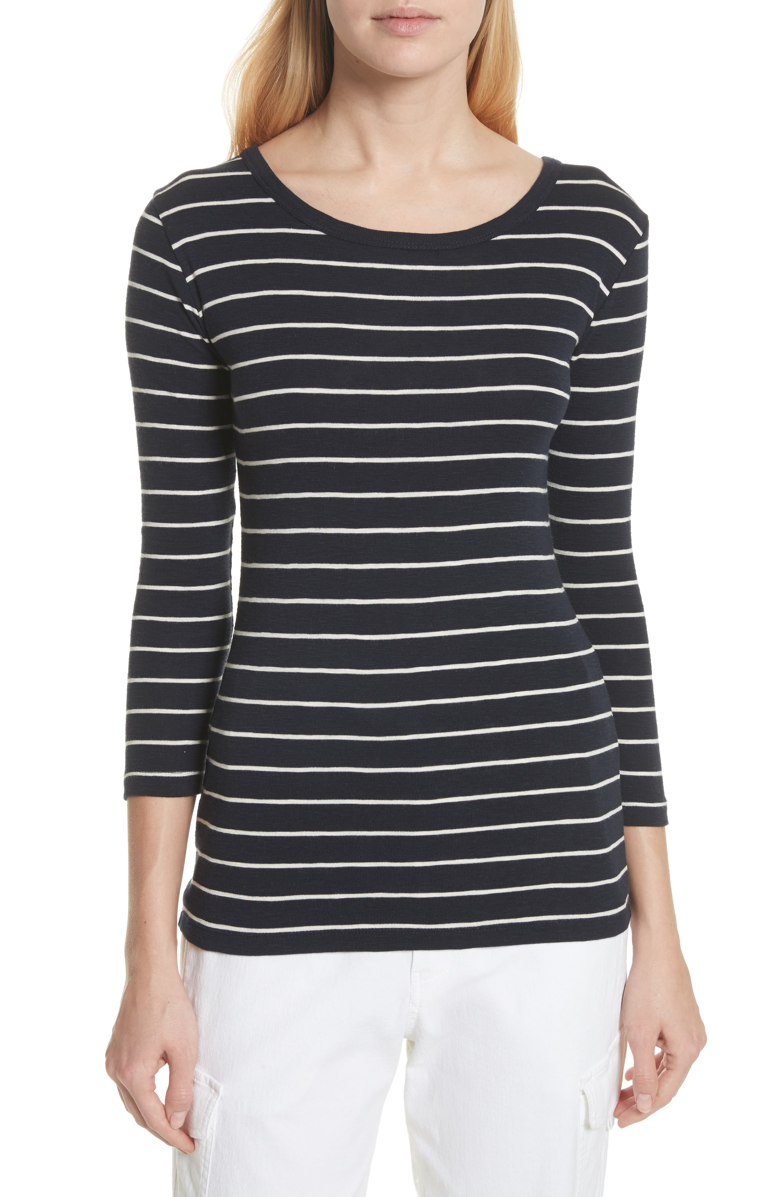 Chalk Stripe Fitted Crewneck Tee,                         Main,                         color, Coastal/ Off White