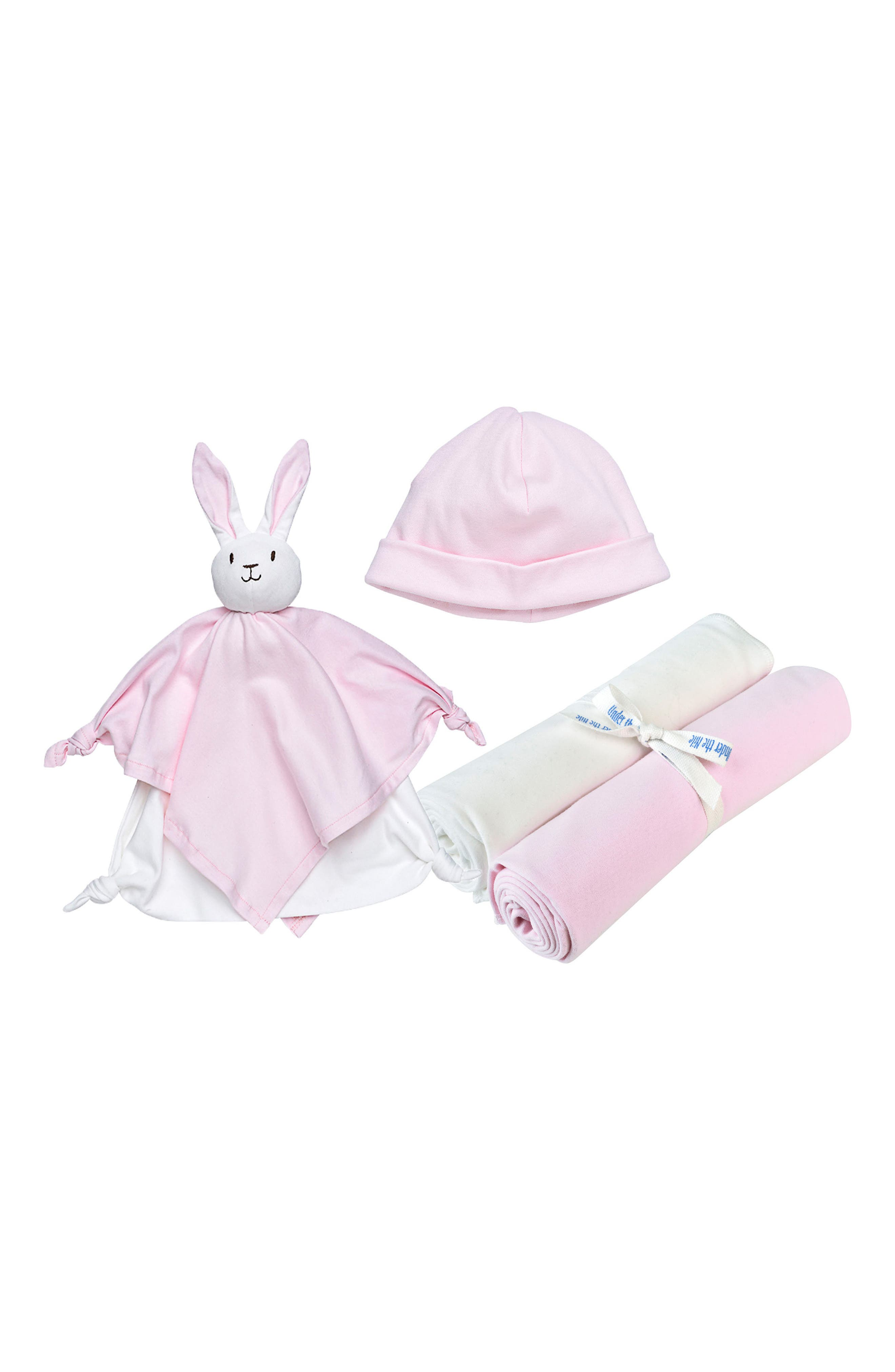 4-Piece Swaddle Blanket, Beanie & Rabbit Lovey Toy Set,                             Main thumbnail 1, color,                             Pink