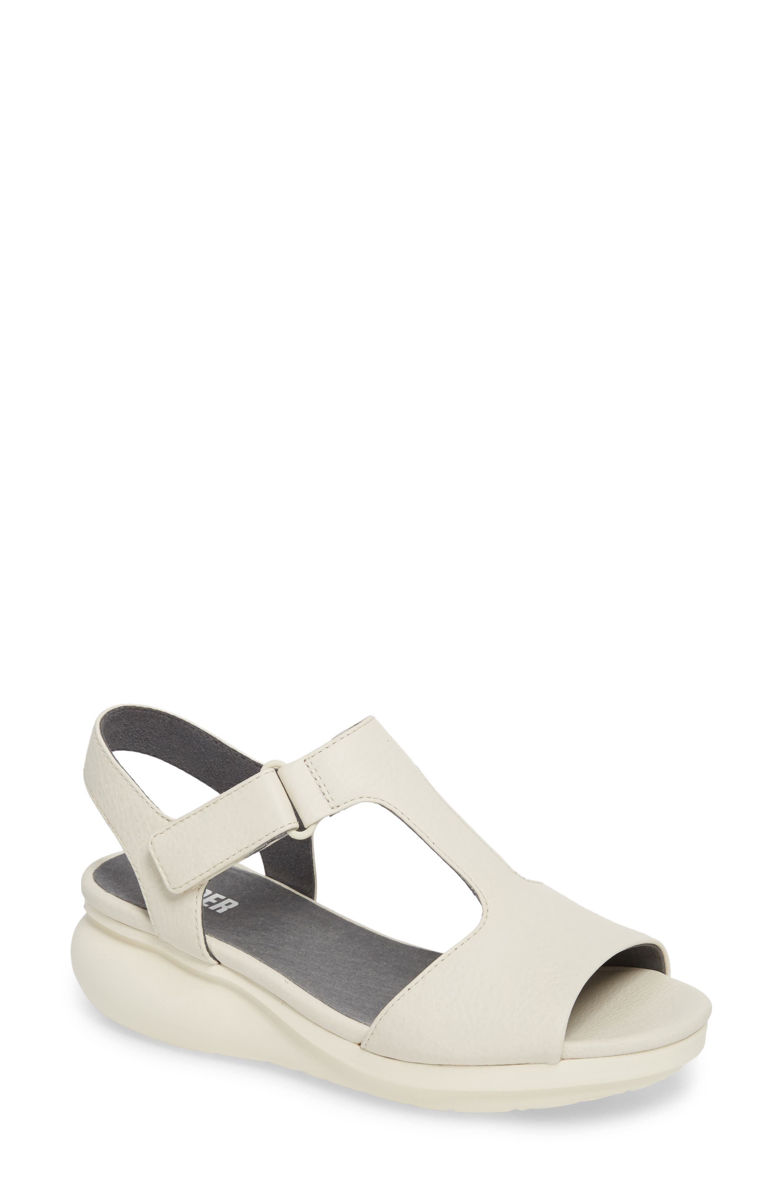 Balloon Wedge Sandal,                         Main,                         color, Light Beige Leather