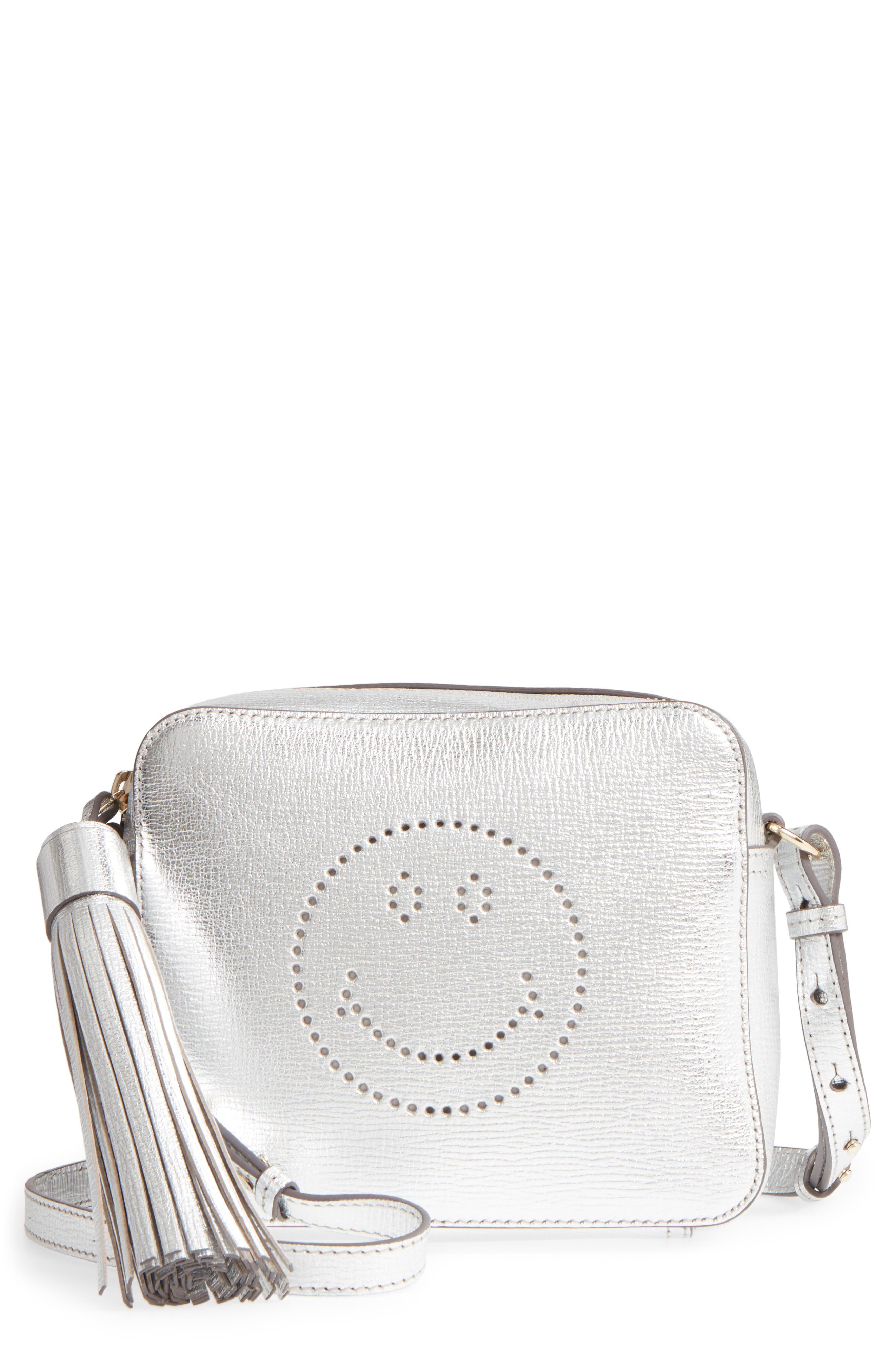 Smiley Metallic Leather Crossbody Bag,                             Main thumbnail 1, color,                             Silver