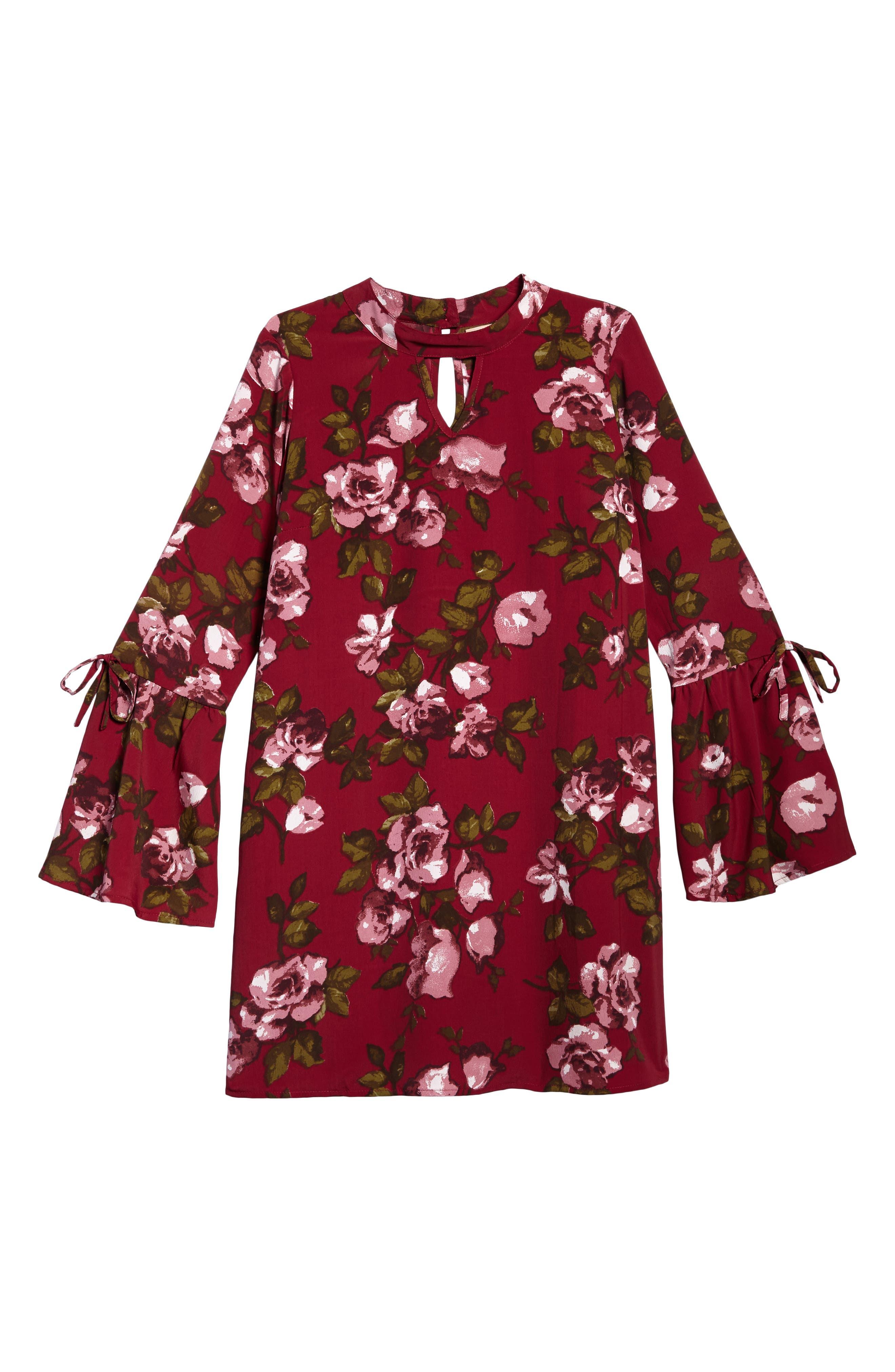 Main Image - Zoe and Rose Print Bell Sleeve Dress (Big Girls)
