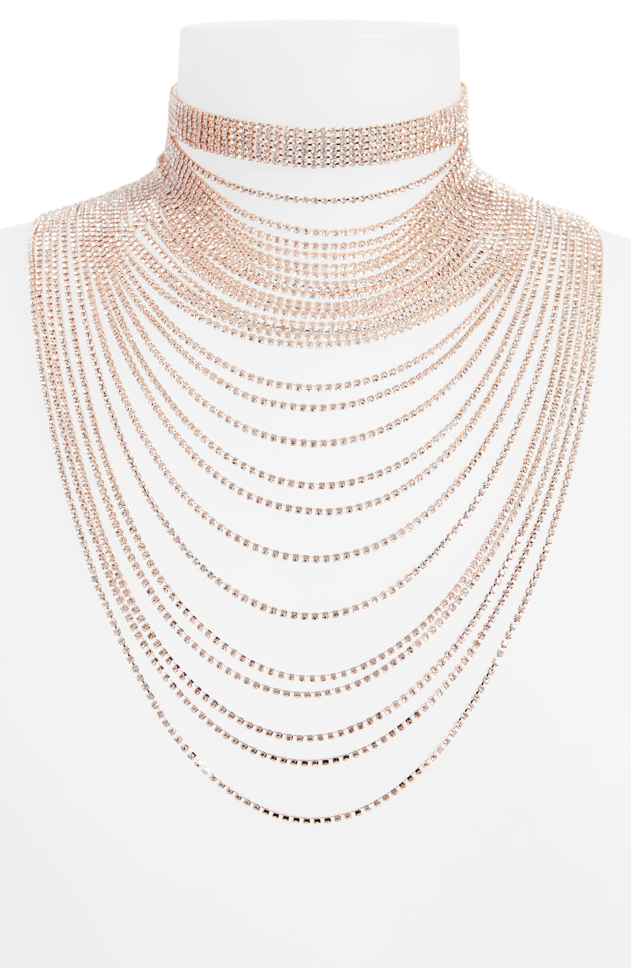 Natasha Layered Crystal Choker Necklace