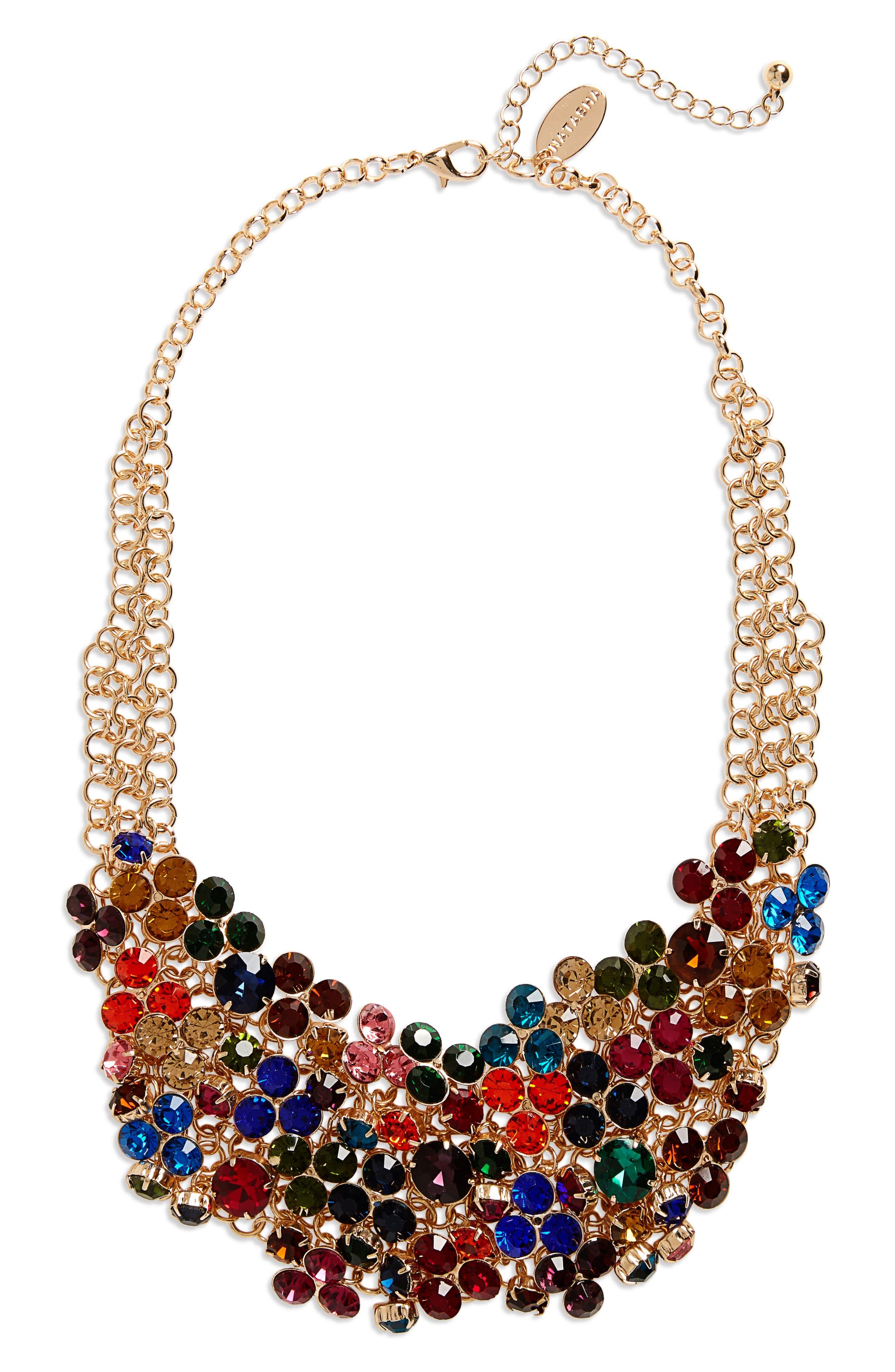 Crystal Bib Necklace,                         Main,                         color, Gold/ Multi
