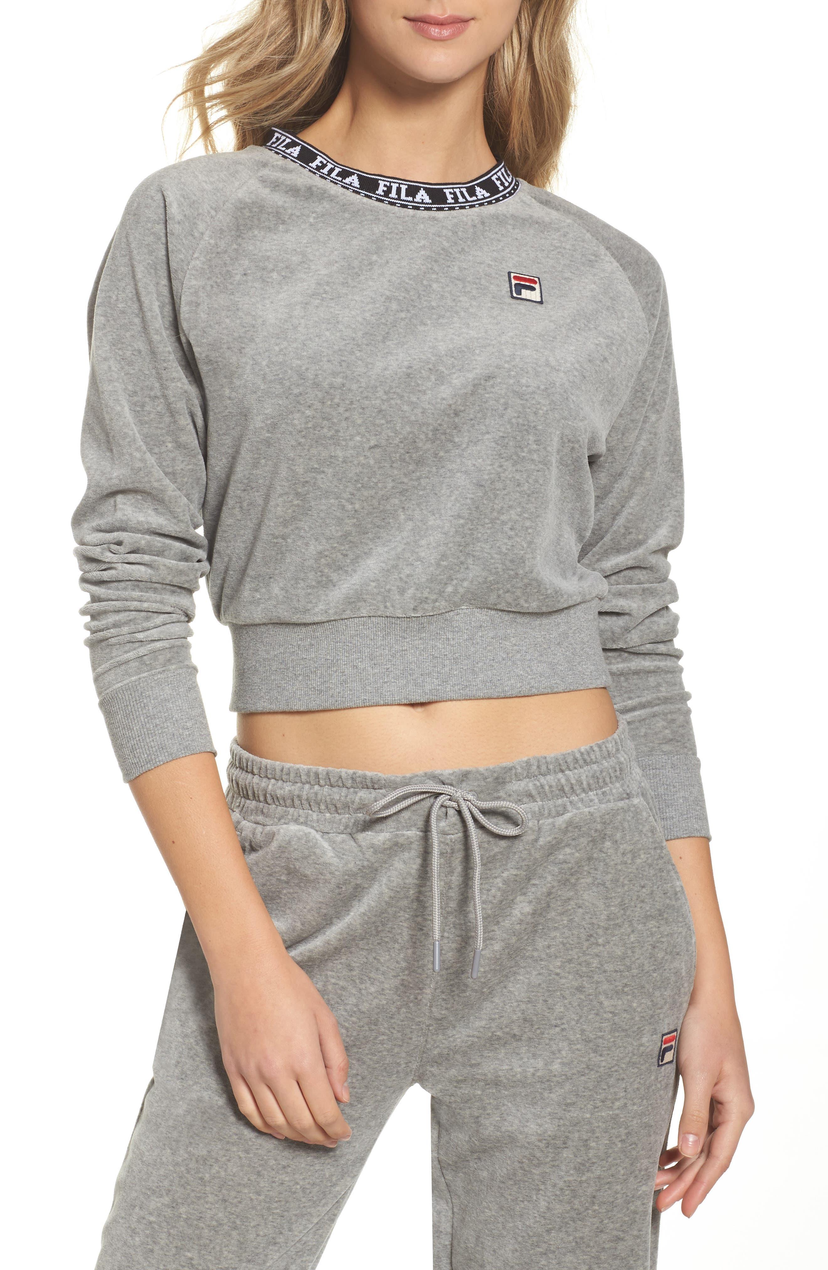 Dina Velour Crop Sweatshirt,                         Main,                         color, Grey Heather/ Black/ White