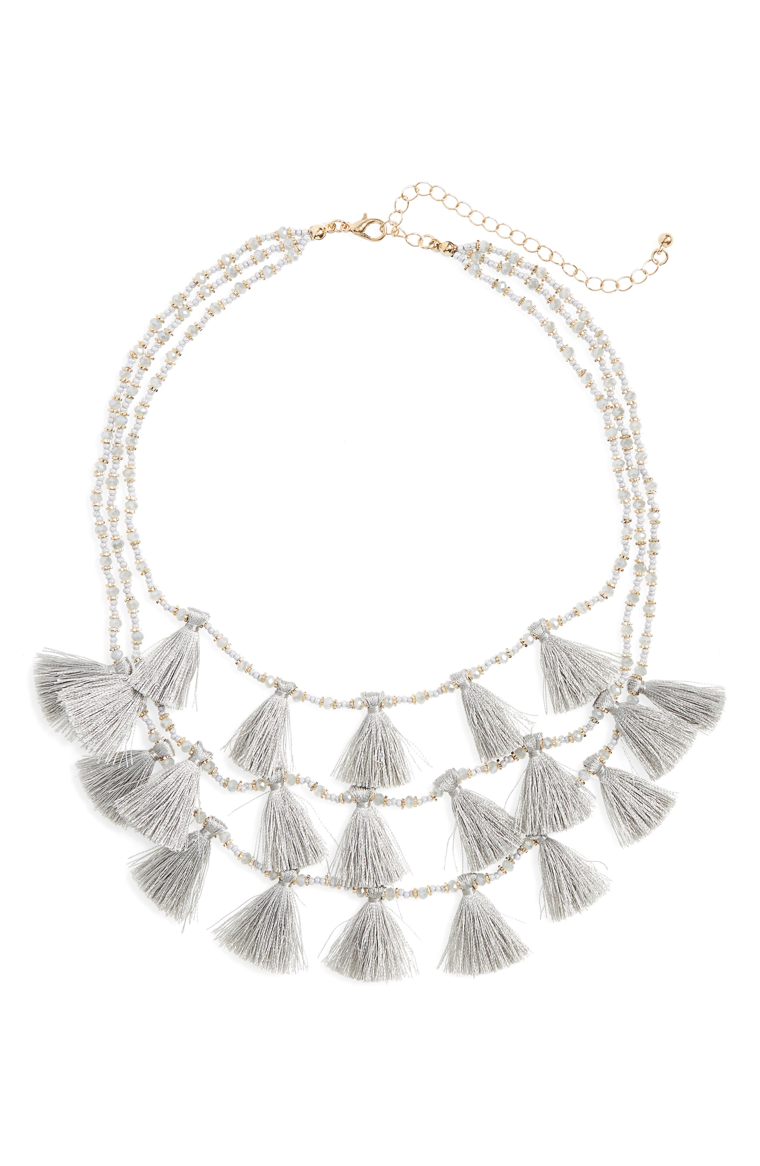 Tassel Statement Necklace,                         Main,                         color, Gray