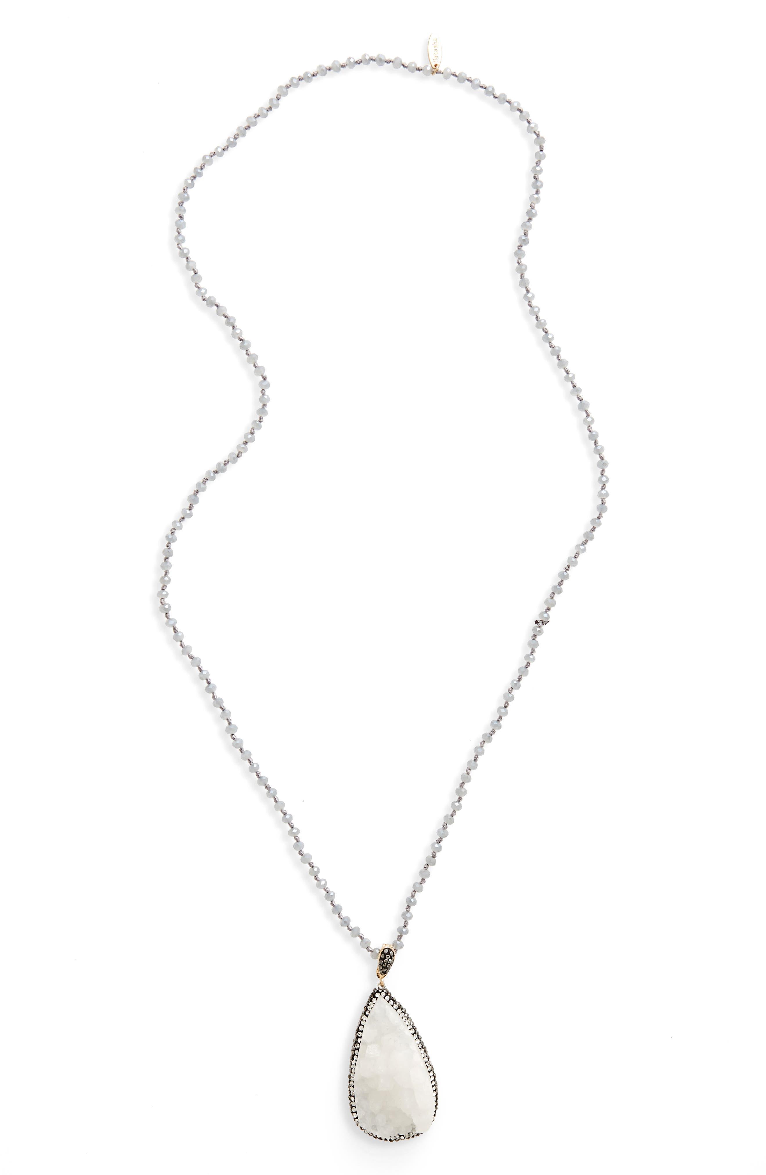 Natasha Drusy Stone Pendant Necklace