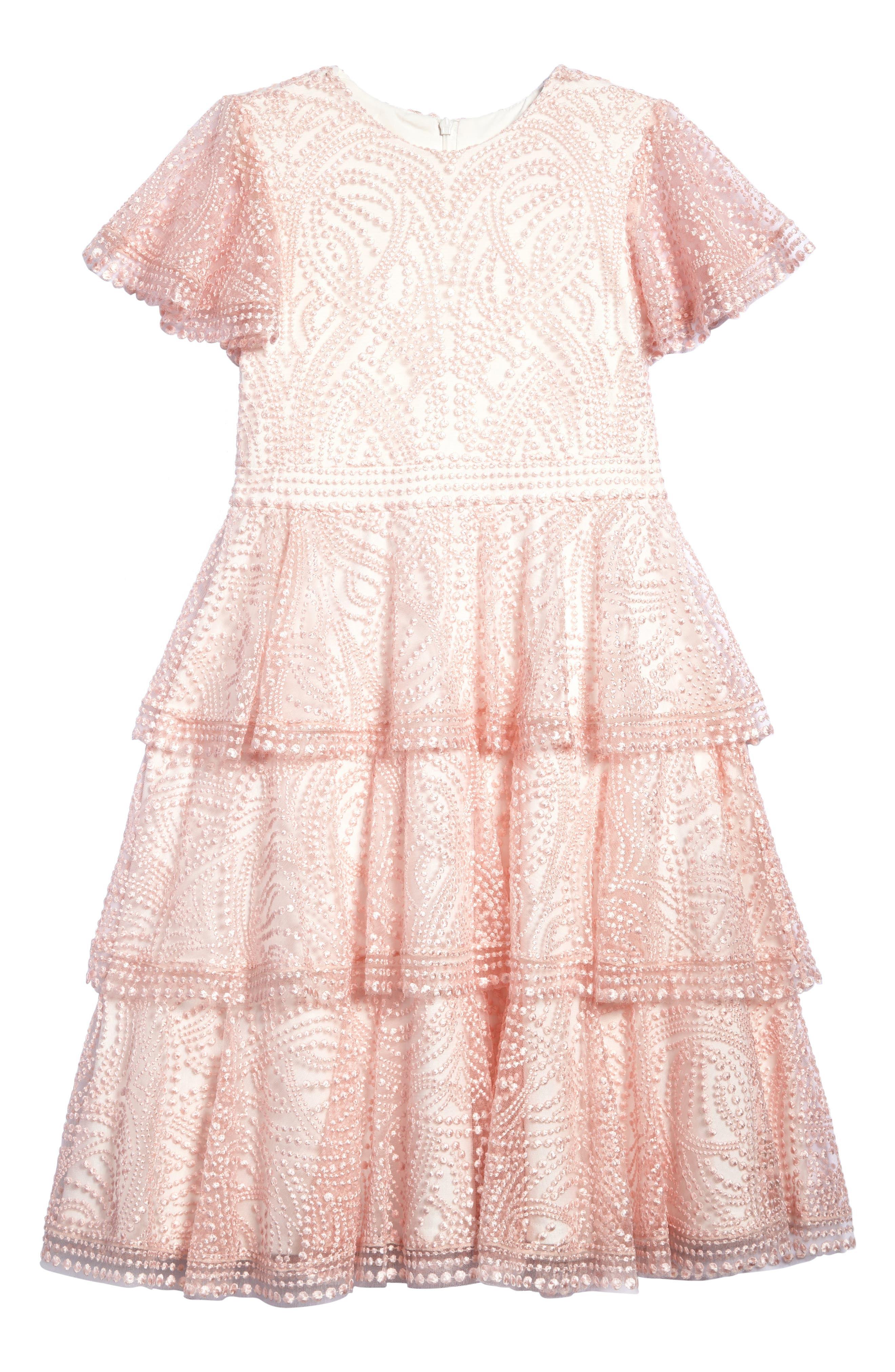 Main Image - Tadashi Shoji Embroidered Ruffle Dress (Toddler Girls, Little Girls & Big Girls)