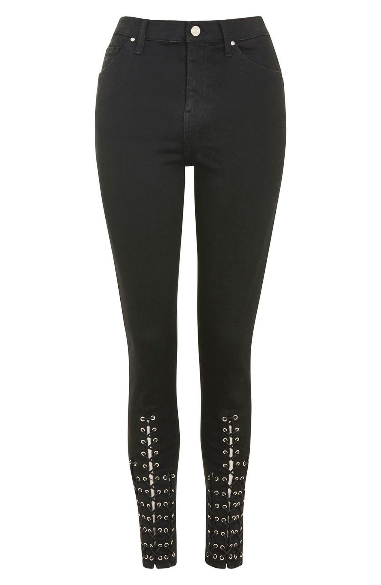 Alternate Image 3  - Topshop Lattice Crop Skinny Jeans