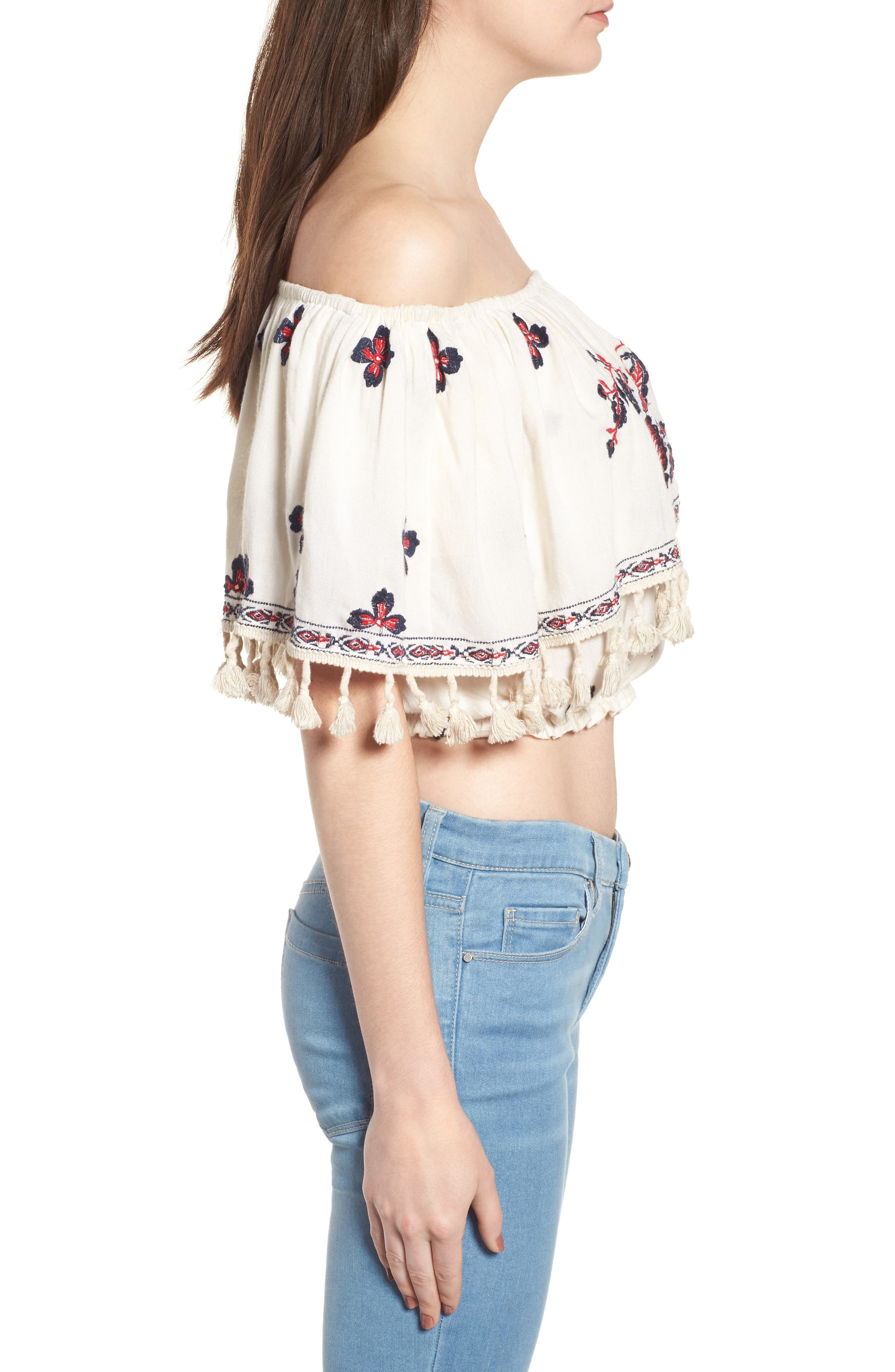 Tessi Embroidered Off the Shoulder Crop Top,                             Alternate thumbnail 3, color,                             Sugar Cookie