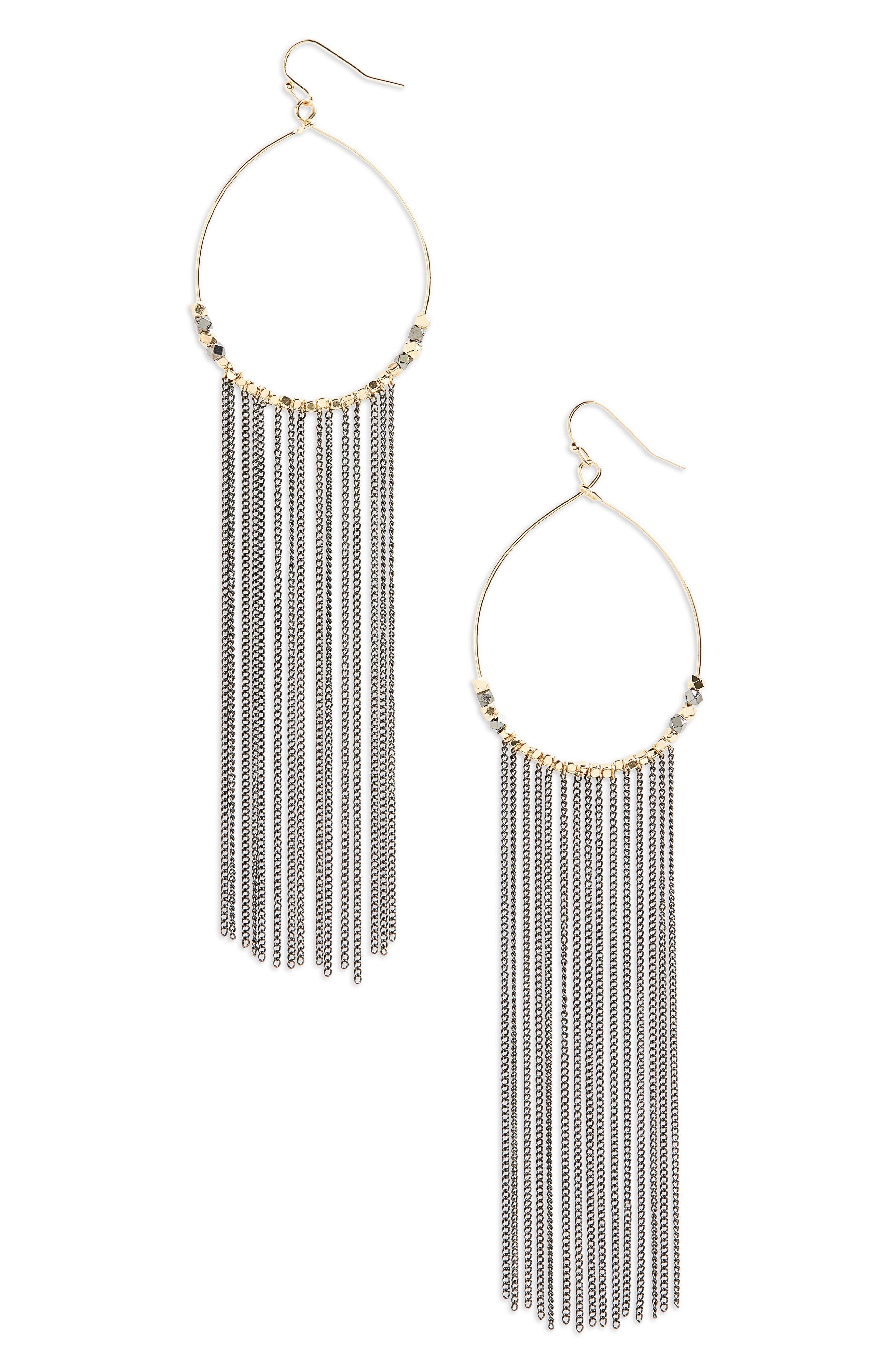 Main Image - Panacea Chain Fringe Hoop Earrings