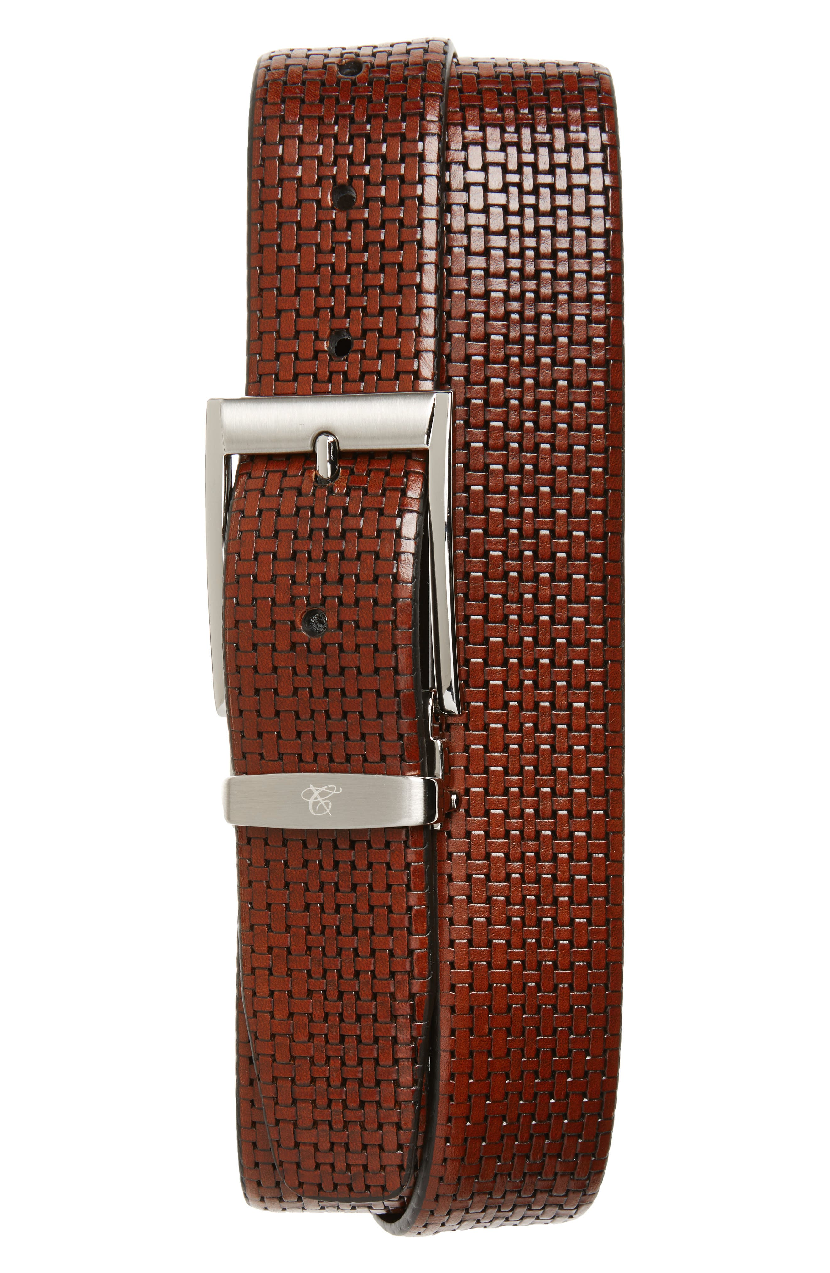 Woven Leather Belt,                         Main,                         color, Medium Brown