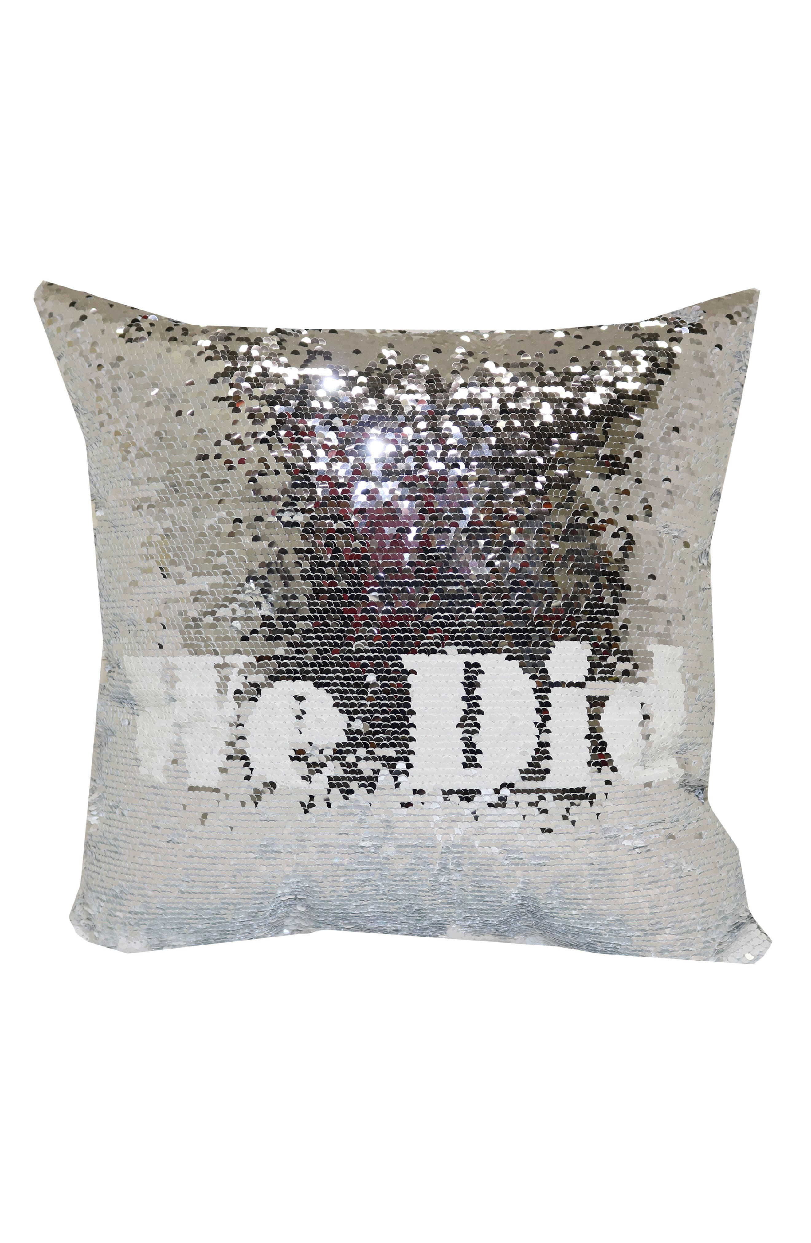 I Do/We Did Flip Sequin Pillow,                             Alternate thumbnail 2, color,                             White/ Silver