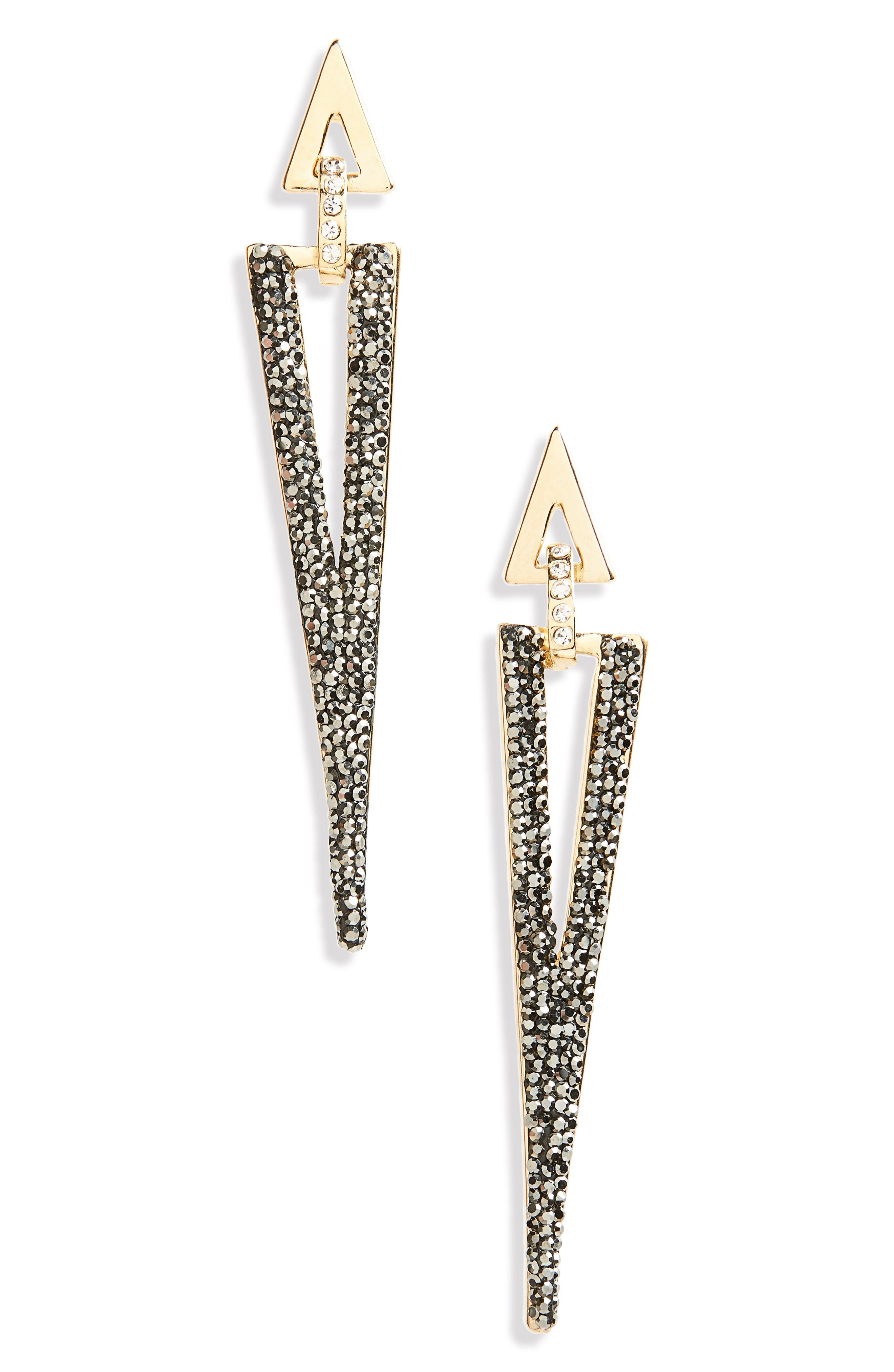 Linear Luxe Triangle Earrings,                         Main,                         color, Gray