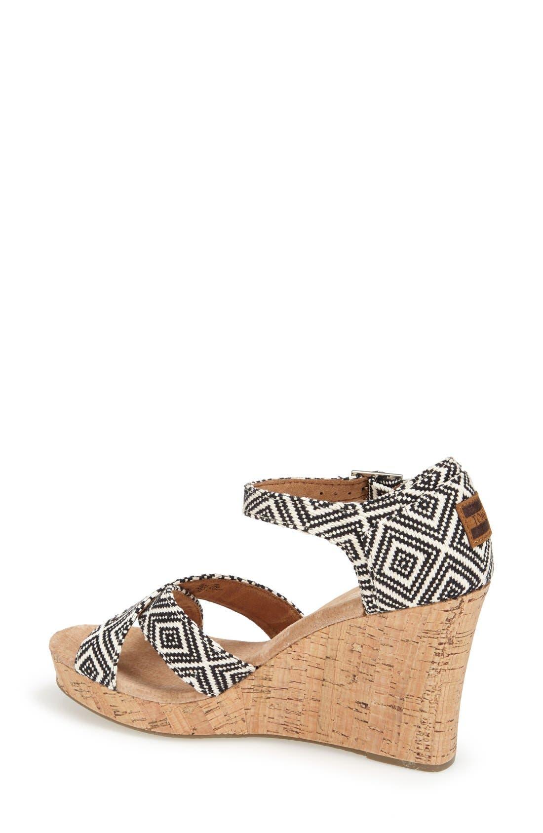Alternate Image 2  - TOMS Canvas Woven Geometric Print Wedge Sandal (Women)