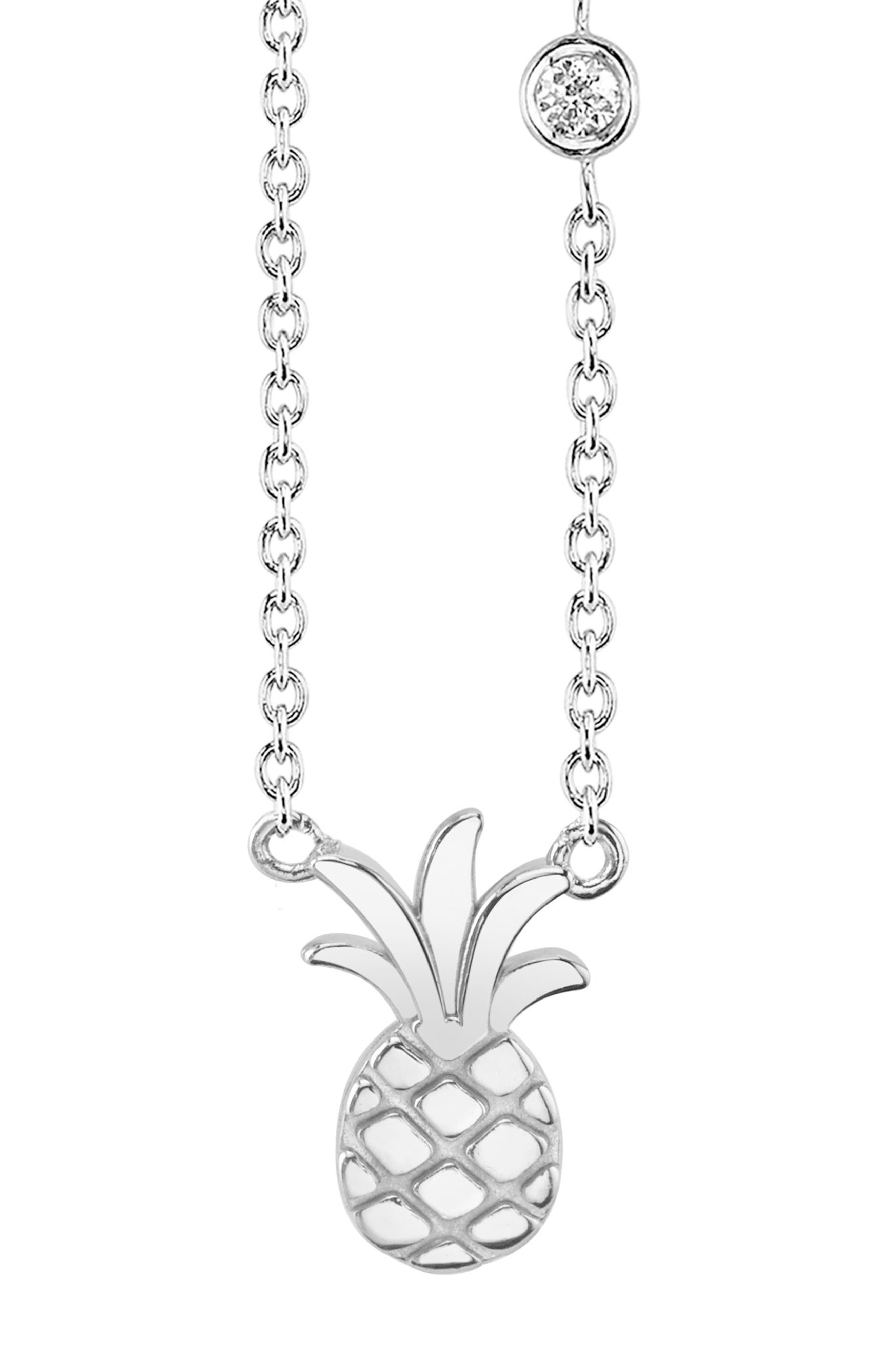 Pineapple Diamond Pendant Necklace,                             Main thumbnail 1, color,                             Silver