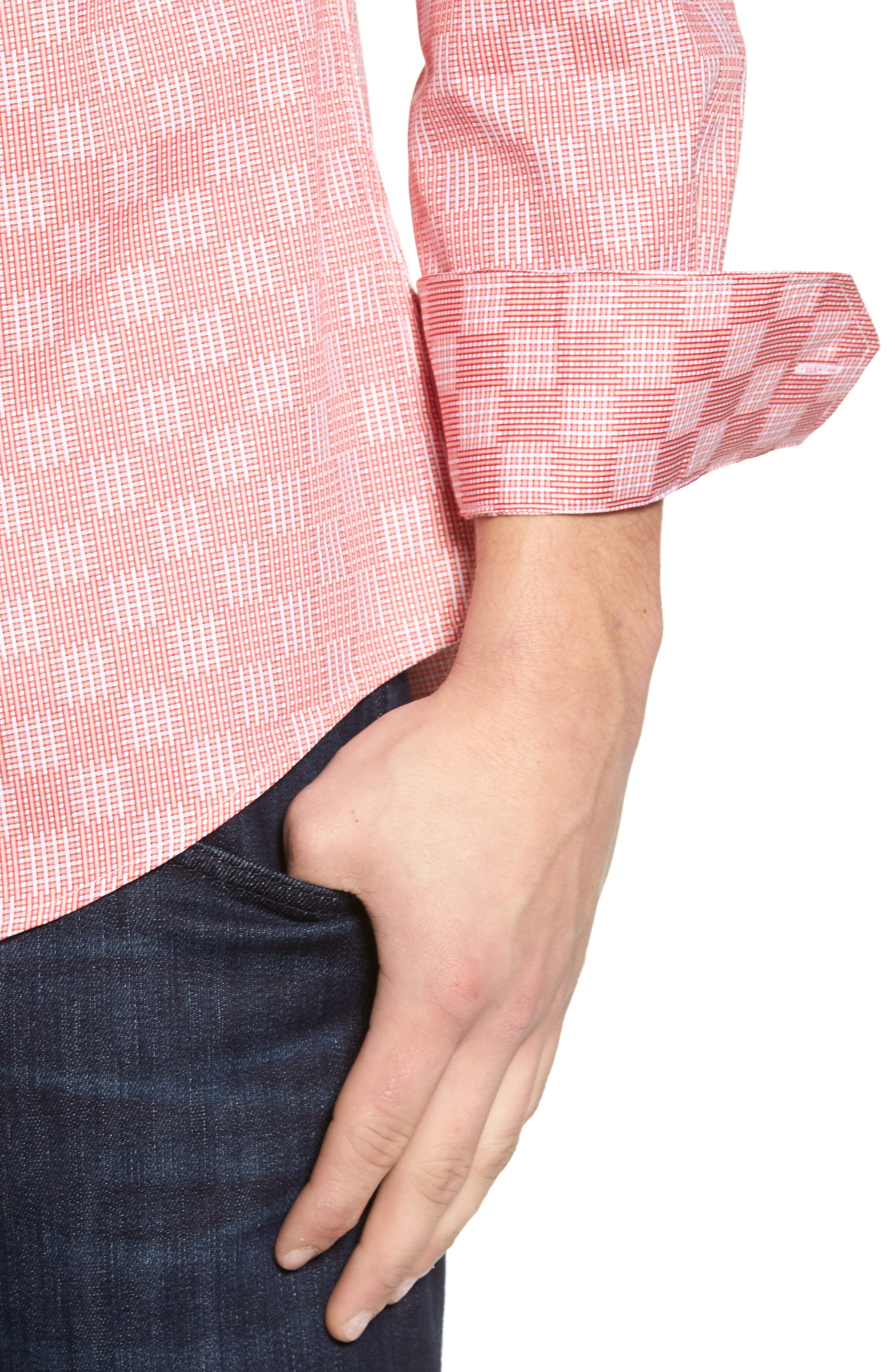 Shaped Fit Print Sport Shirt,                             Alternate thumbnail 4, color,                             Coral