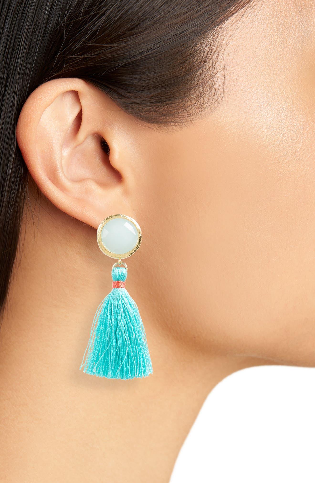 Beaded Tassel Earrings,                             Alternate thumbnail 2, color,                             Mint