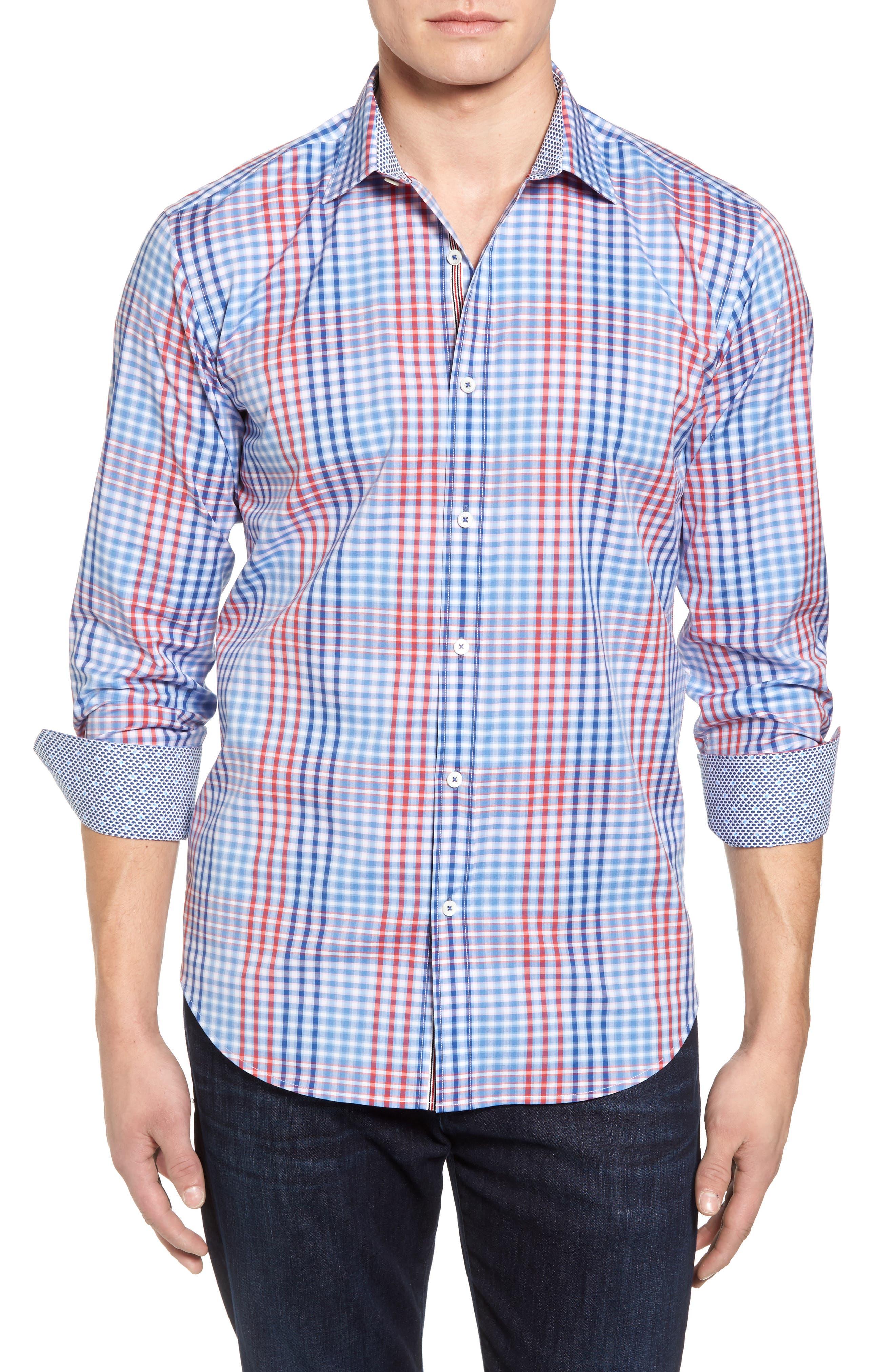 Shaped Fit Plaid Sport Shirt,                             Main thumbnail 1, color,                             Classic Blue