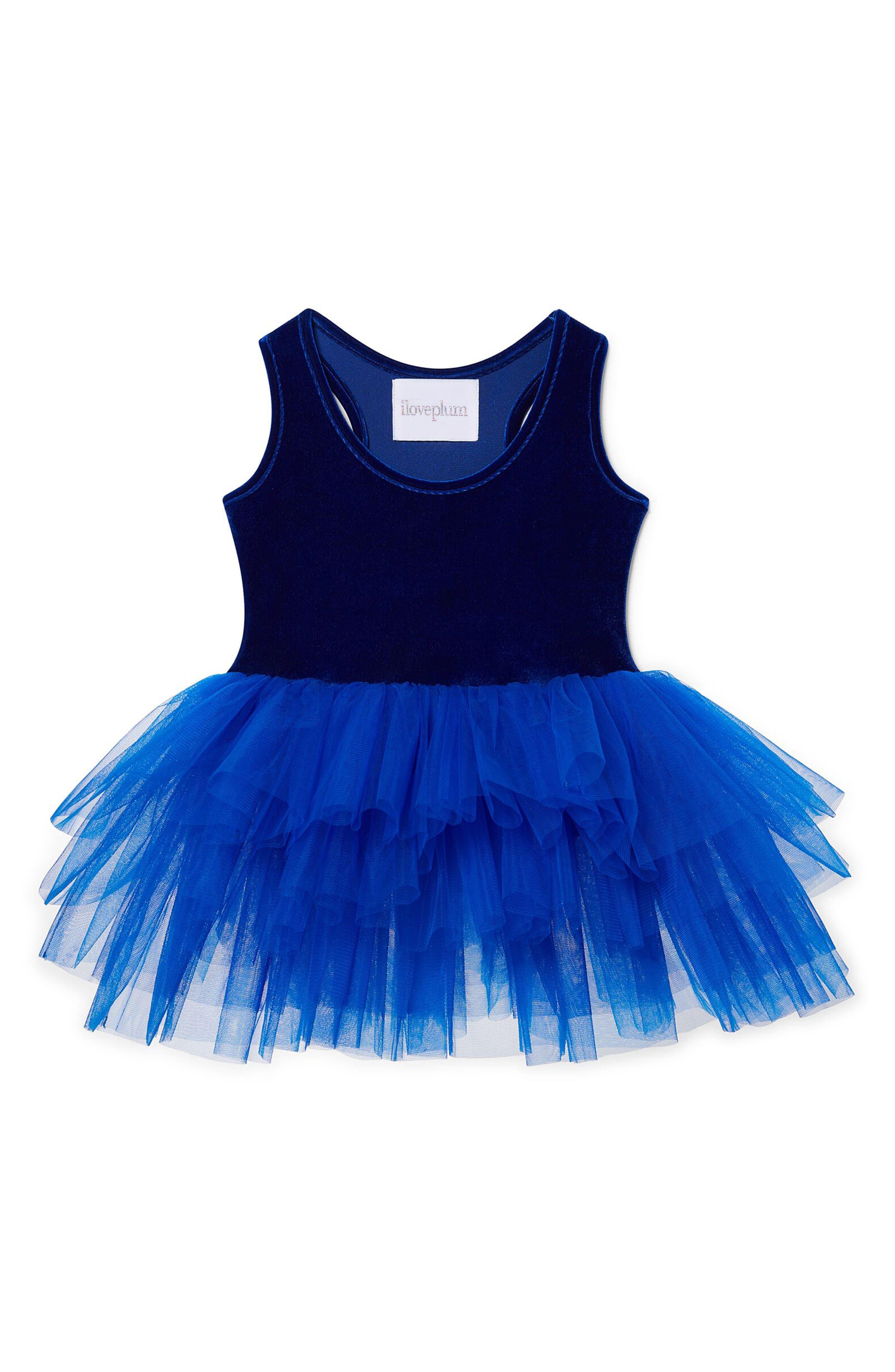 Velvet & Tulle Tutu Dress,                         Main,                         color, Electric Blue