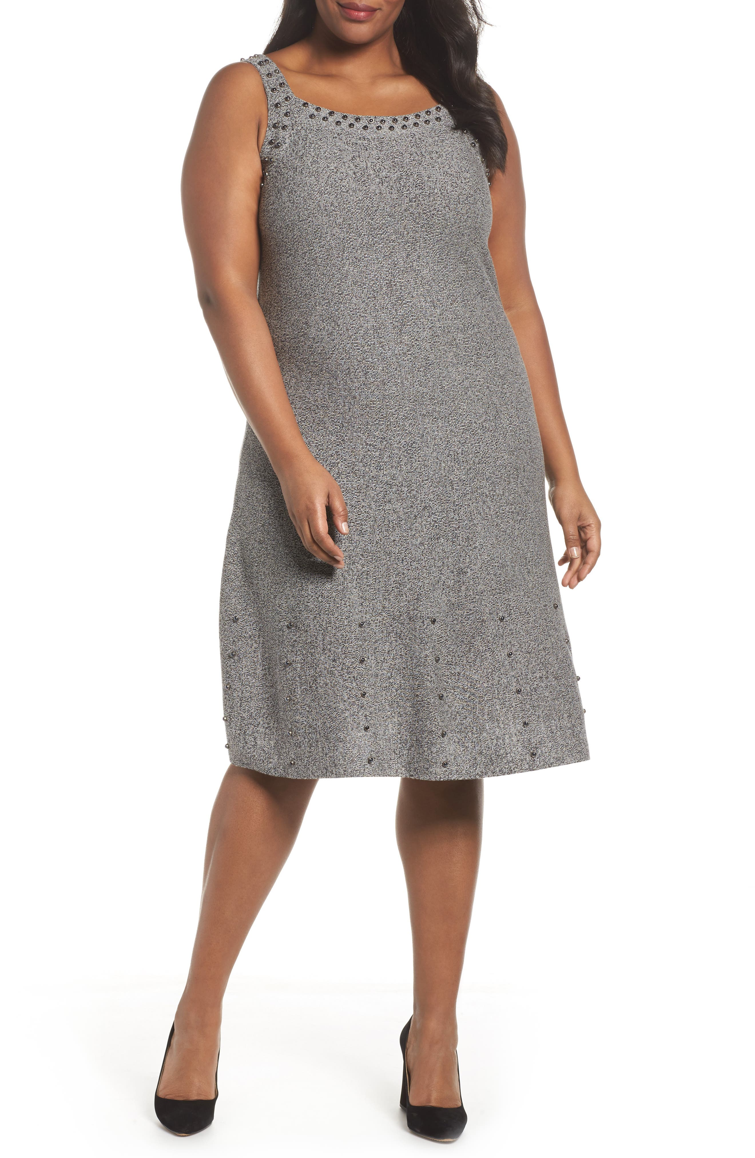 Alternate Image 1 Selected - NIC+ZOE Modern Stud A-Line Dress (Plus Size)