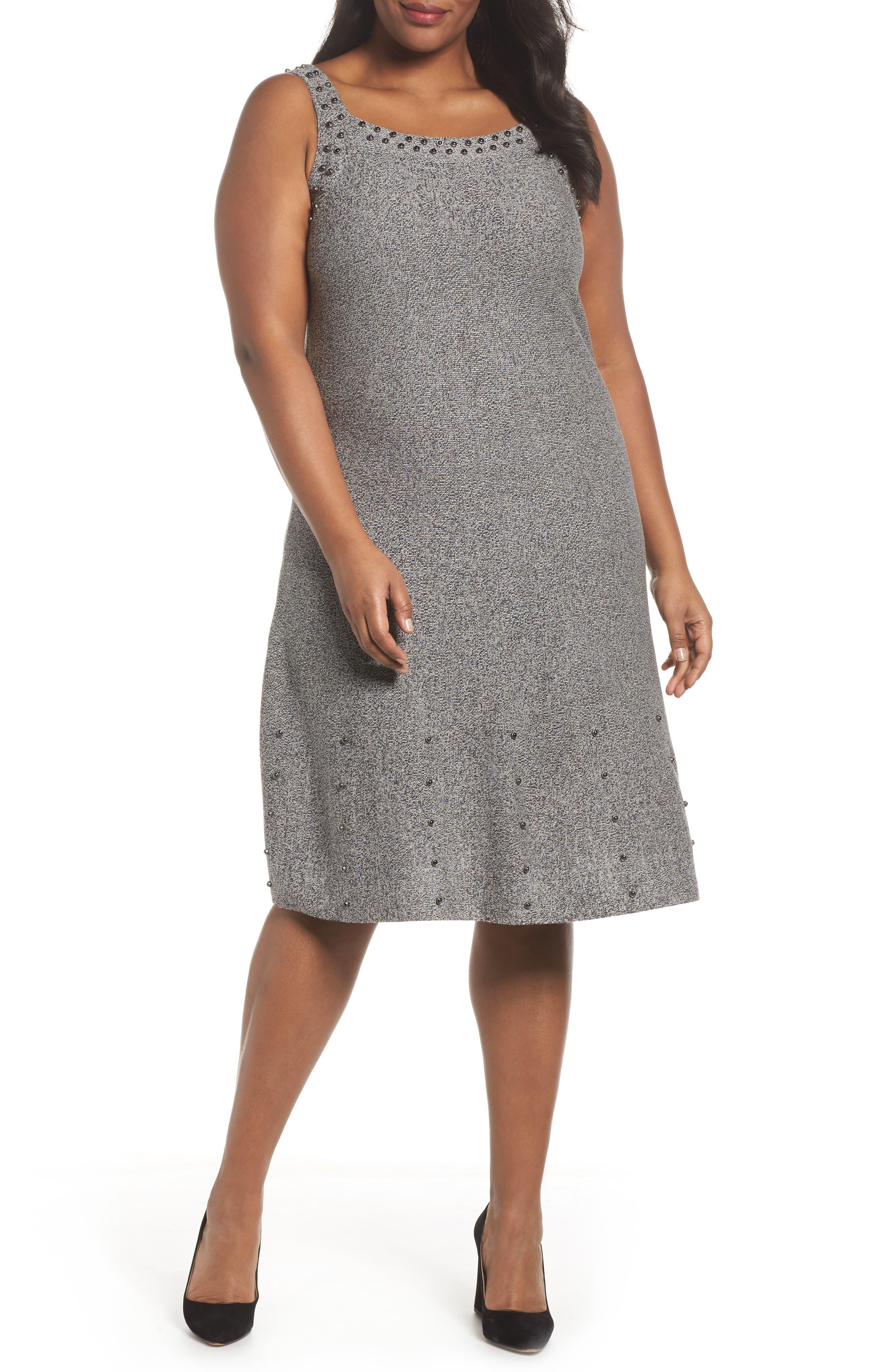 Modern Stud A-Line Dress,                         Main,                         color, Grey Mix