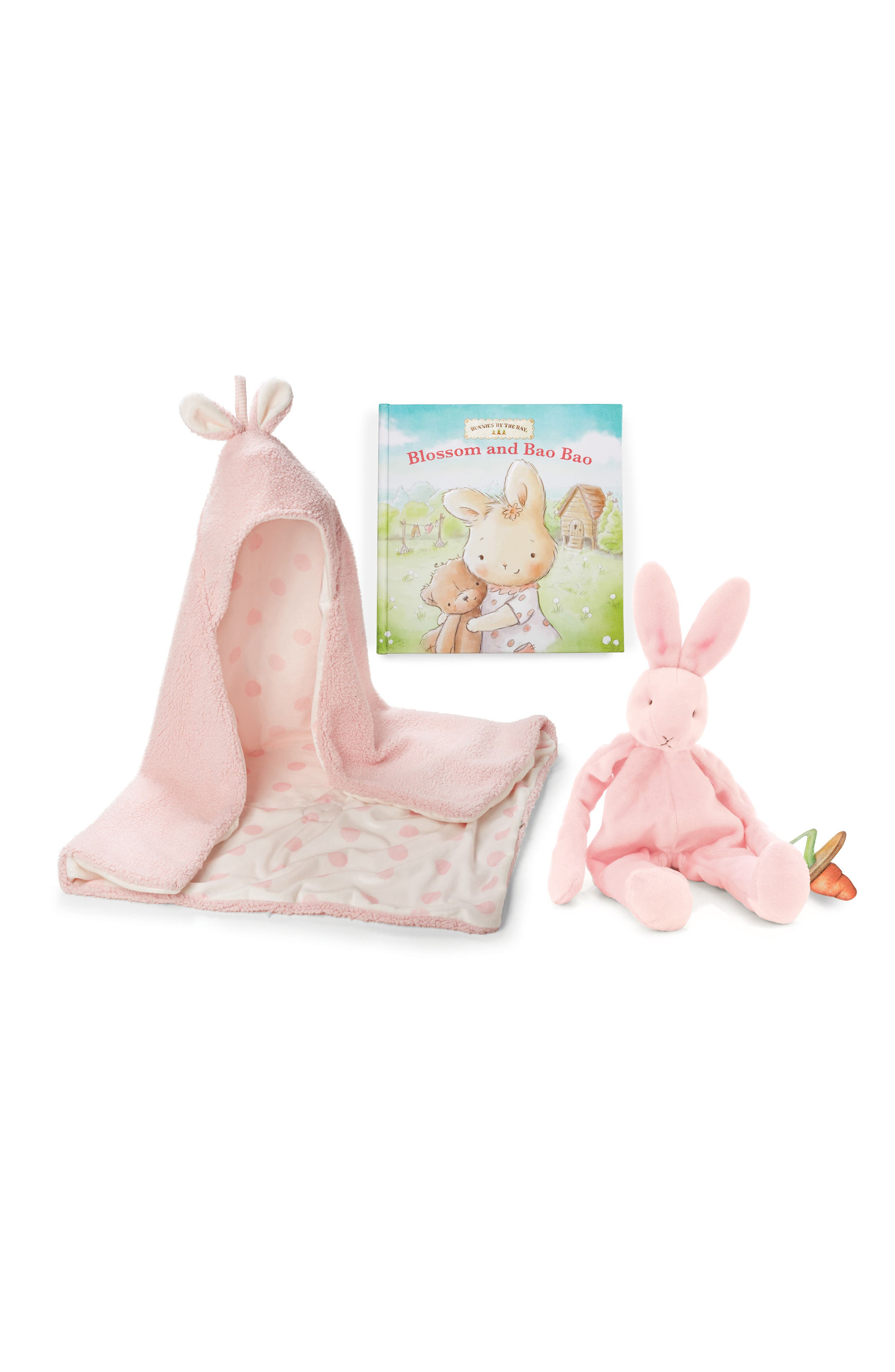 Hooded Blanket, Stuffed Animal & Board Book Set,                         Main,                         color, Petal Pink