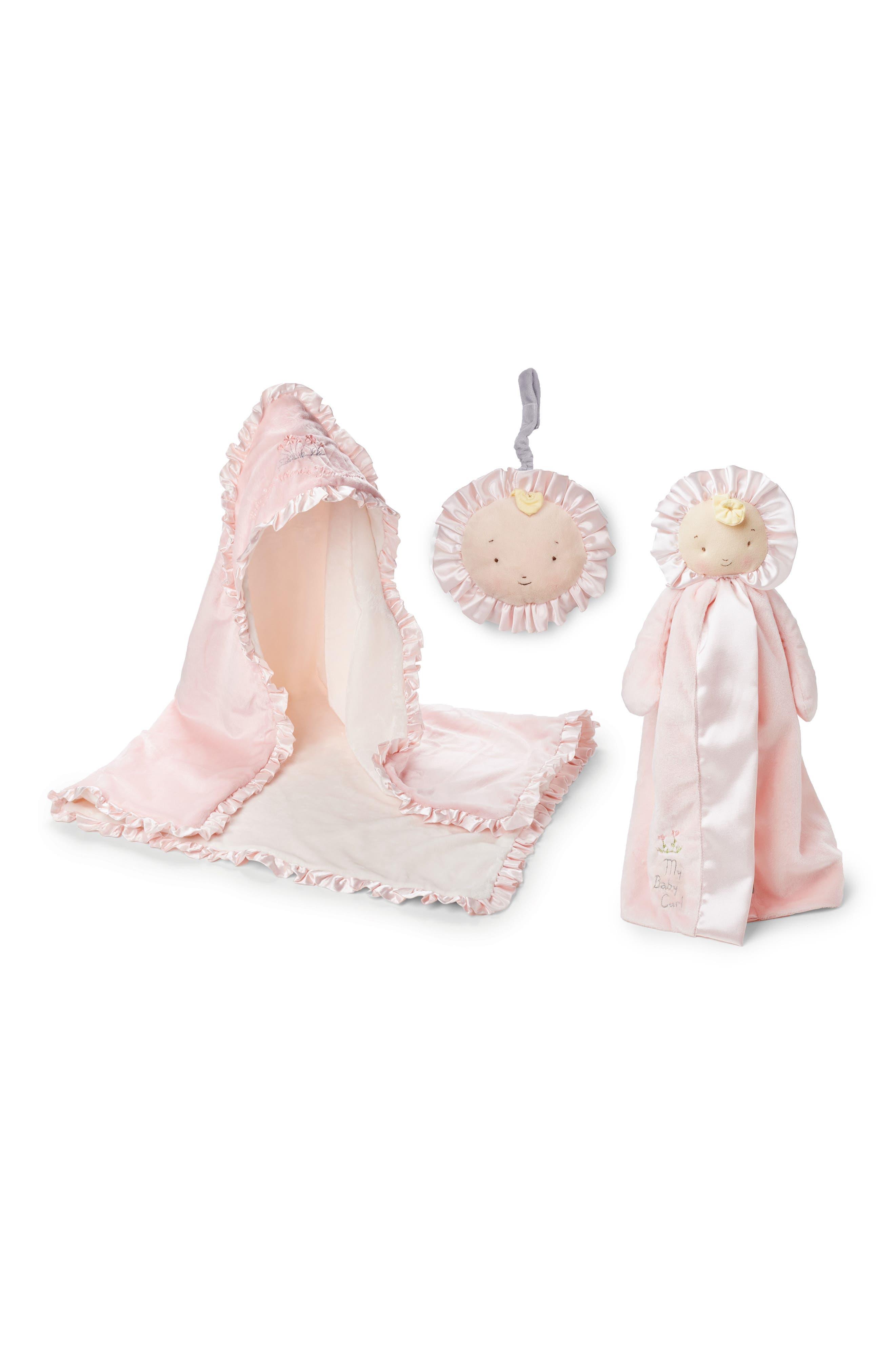 Hooded Blanket, Lovie & Book Set,                         Main,                         color, Baby Pink